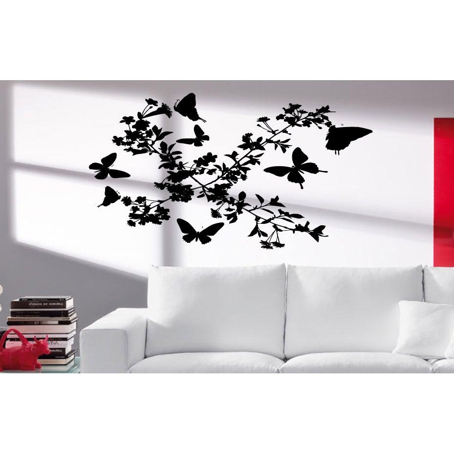 d09303d270 Shop Flowers bushes birds butterfly Wall Art Sticker Decal - Ships To  Canada - Overstock.ca - 11611301