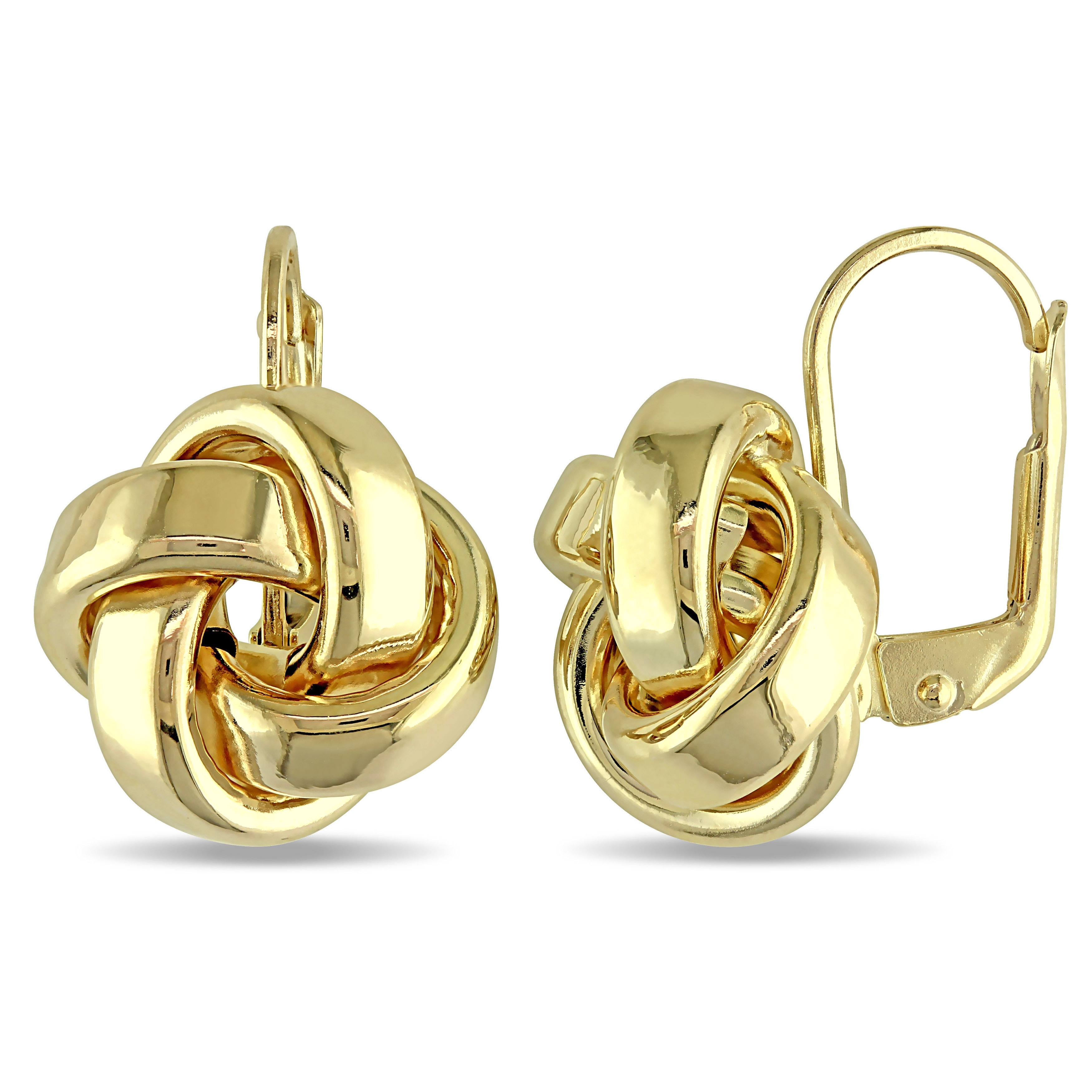 Miadora 10k Yellow Gold Italian Love Knot Leverback Earrings On Free Shipping Today 11613488