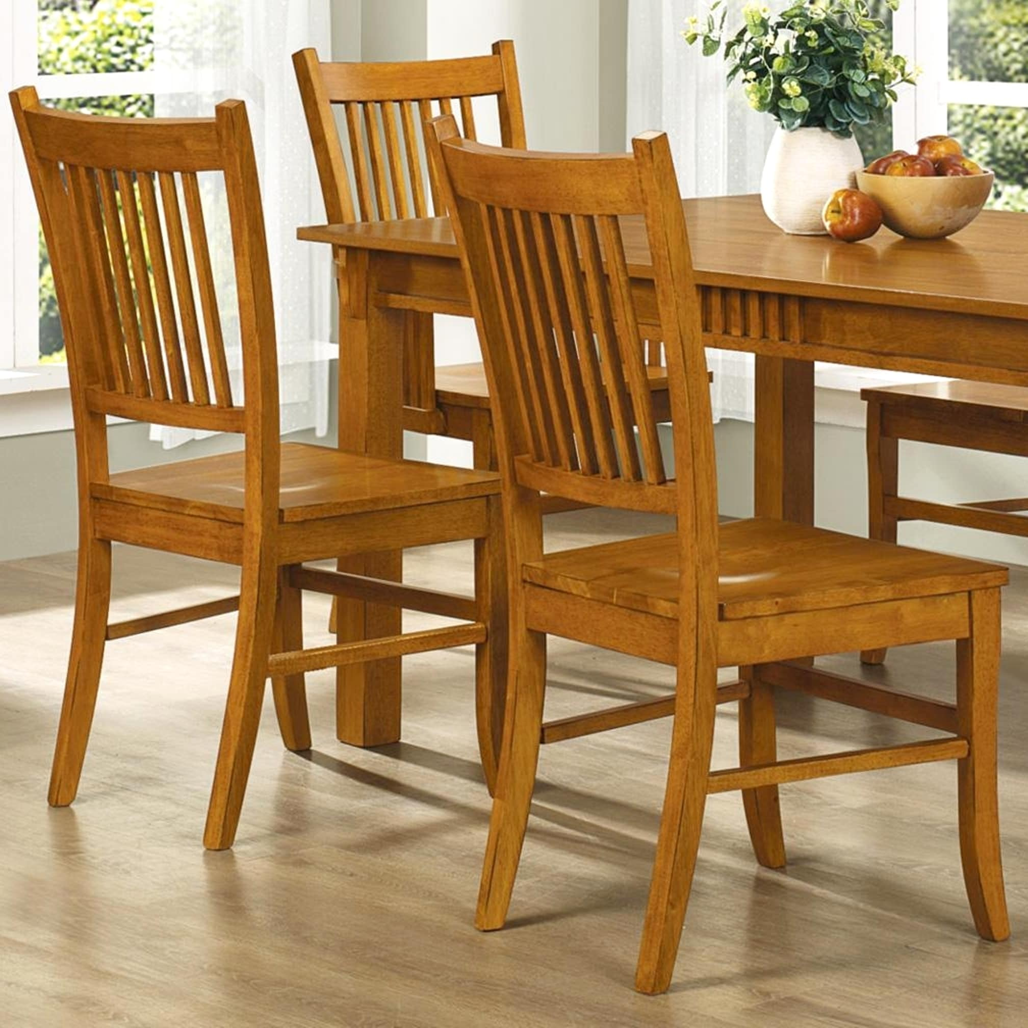 Mid Century Design Wood Mission Country Style Dining Chairs Set Of 2 Free Shipping Today 11614095