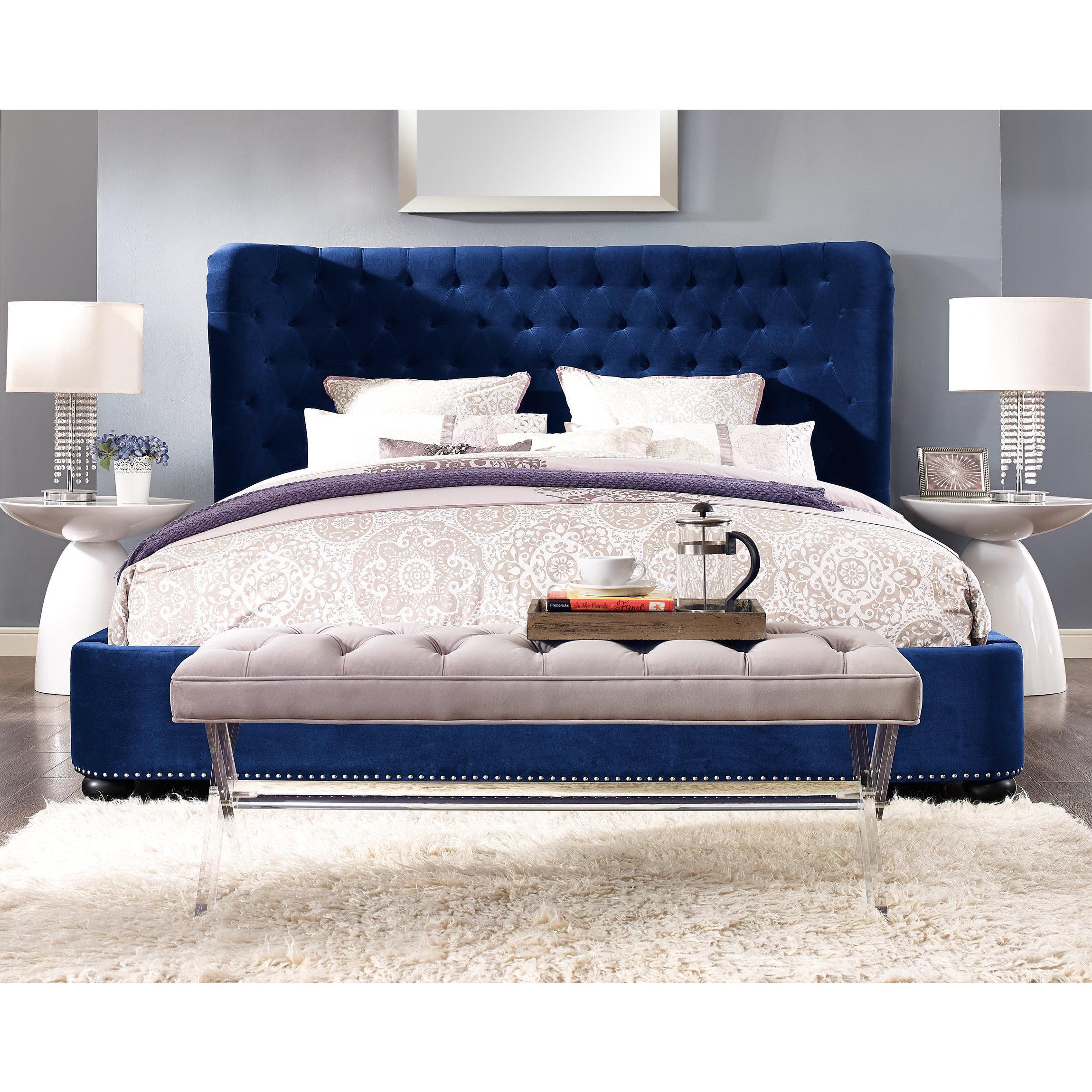 Blue velvet bed frame and headboard