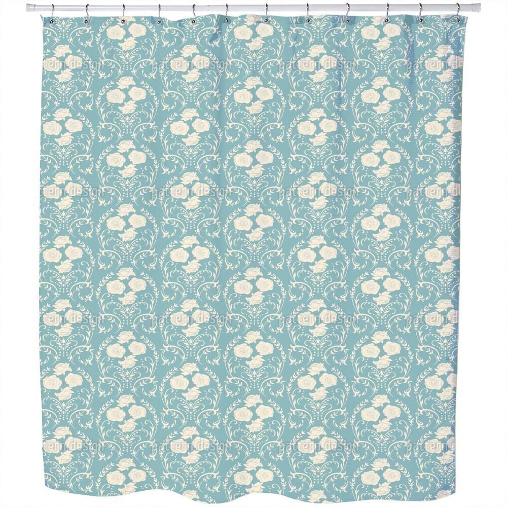 Shop Rose Blue Shower Curtain