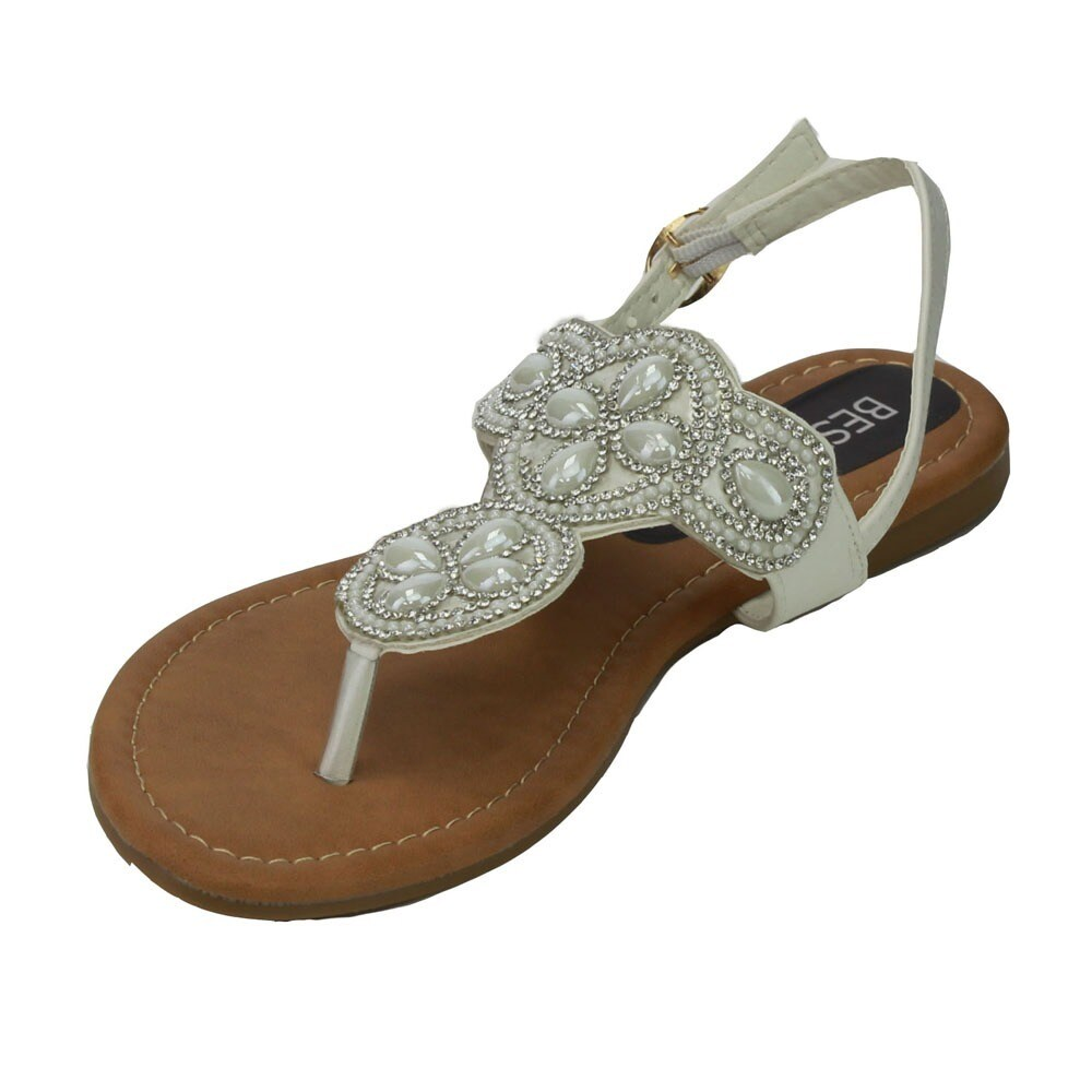 83848f493c048 Shop Beston EB89 Women Sparkly Diamonds Buckled Slingback Thong Sandal -  Free Shipping On Orders Over  45 - Overstock - 11618713