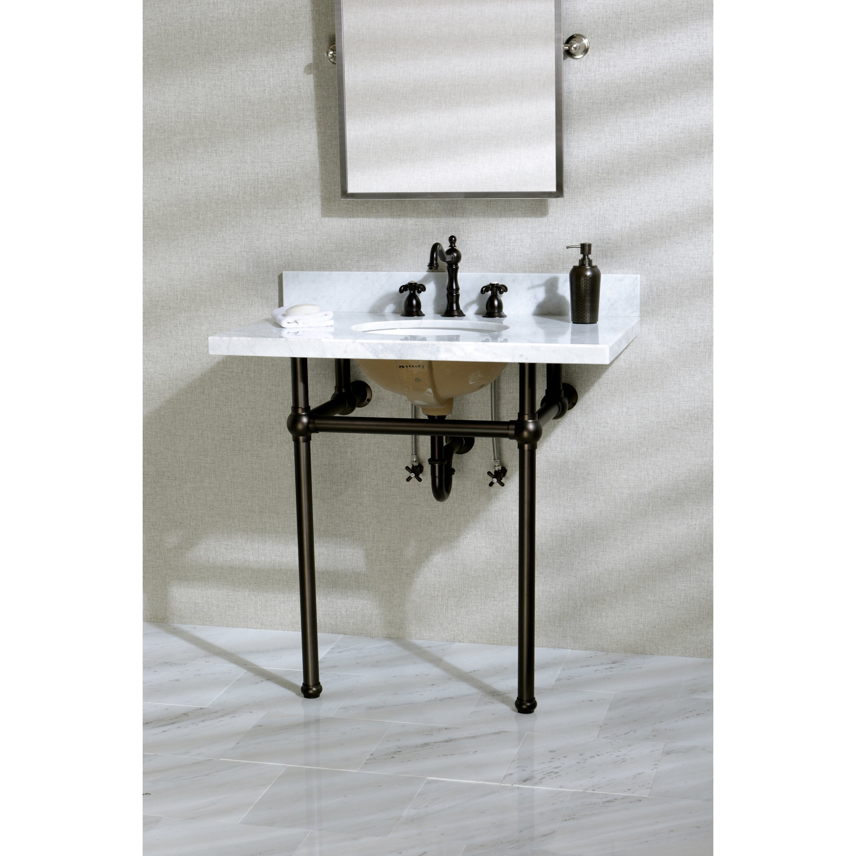 Console Sink Part - 16: Vintage Carrara Marble 36-inch Console Sink With Metal Stand - Free  Shipping Today - Overstock.com - 18559209