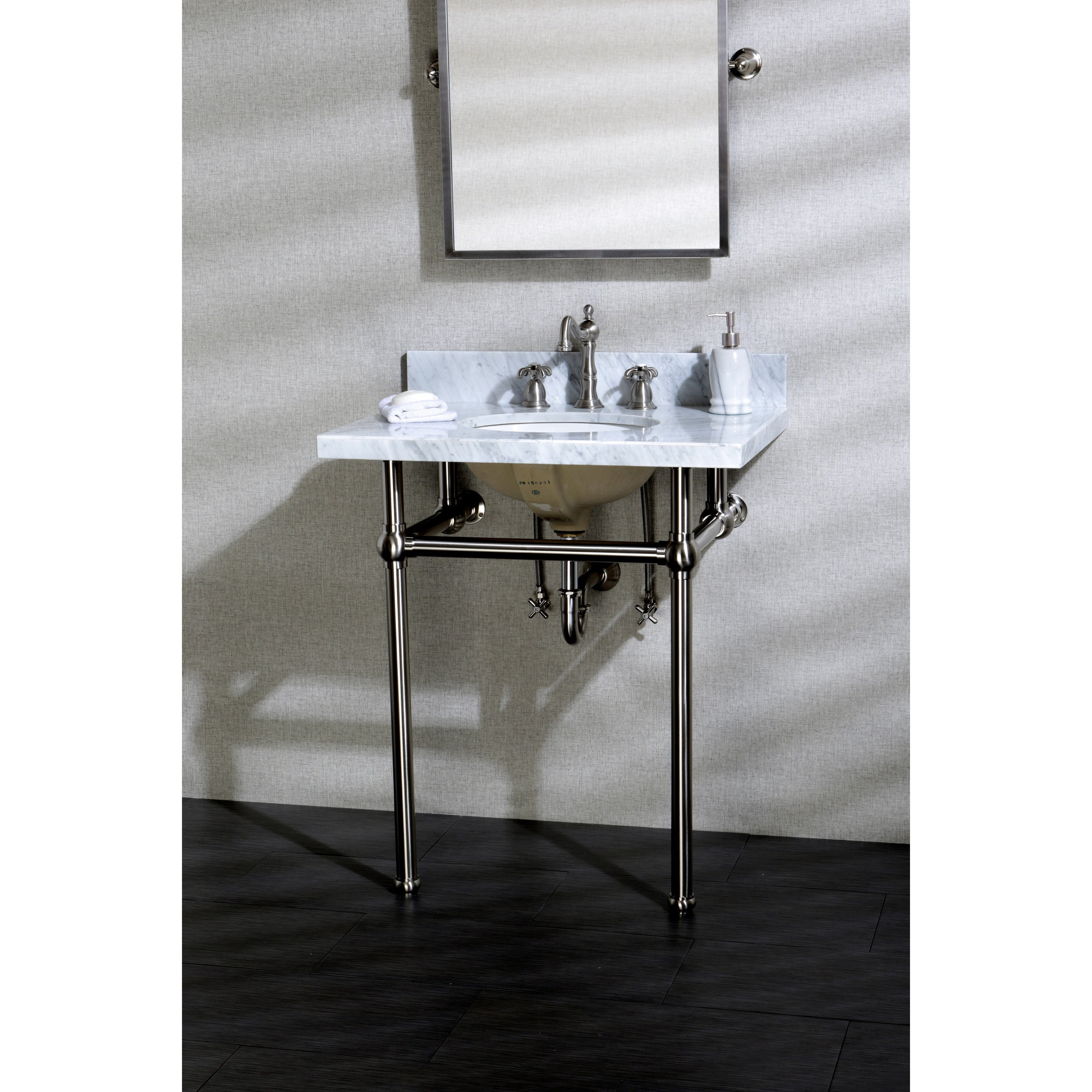 attractive 30 Inch Console Sink Part - 6: Shop Vintage Carrara Marble 30-inch Console Sink and Metal Stand - Free  Shipping Today - Overstock.com - 11623869