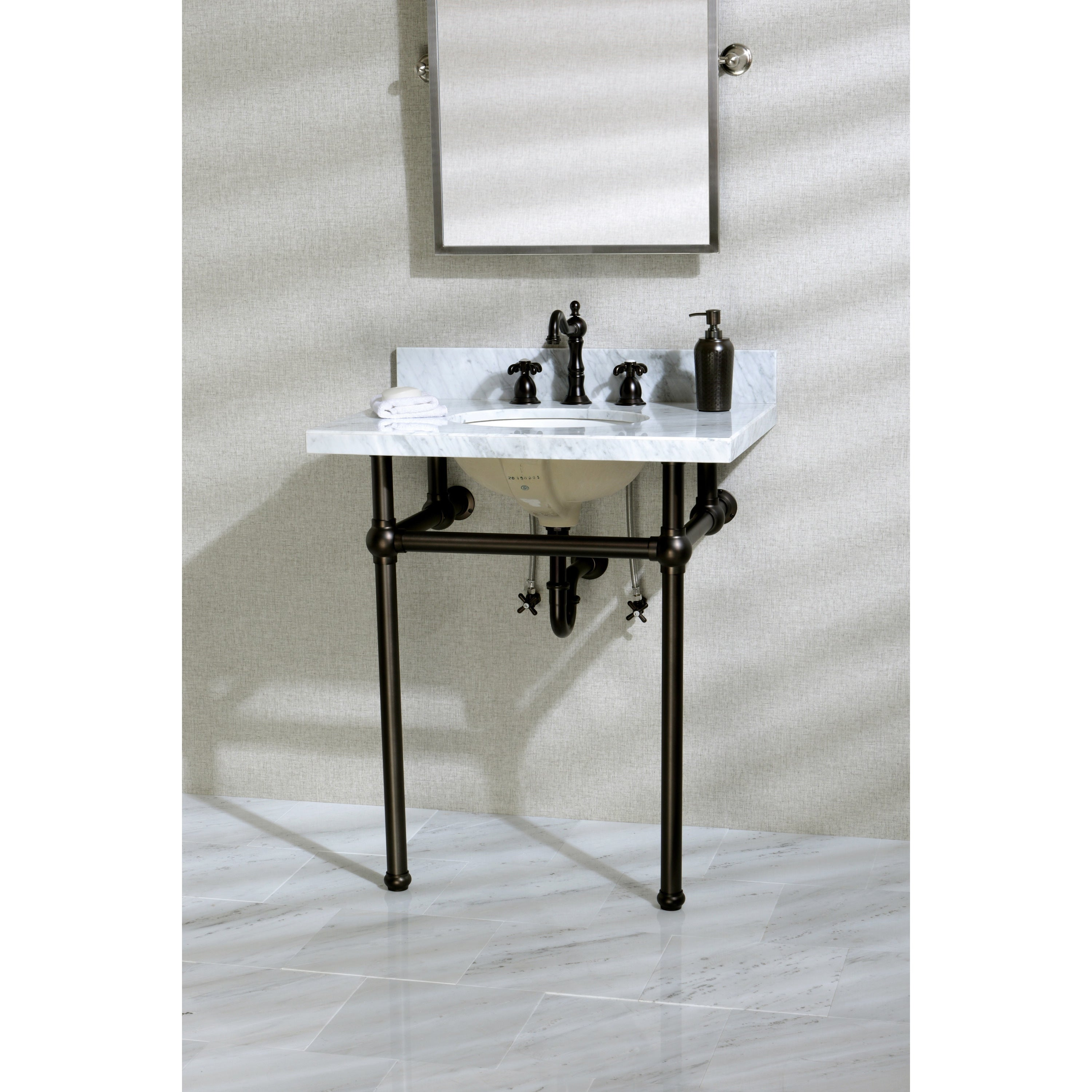 superb 30 Inch Console Sink Part - 3: Shop Vintage Carrara Marble 30-inch Console Sink and Metal Stand - Free  Shipping Today - Overstock.com - 11623869