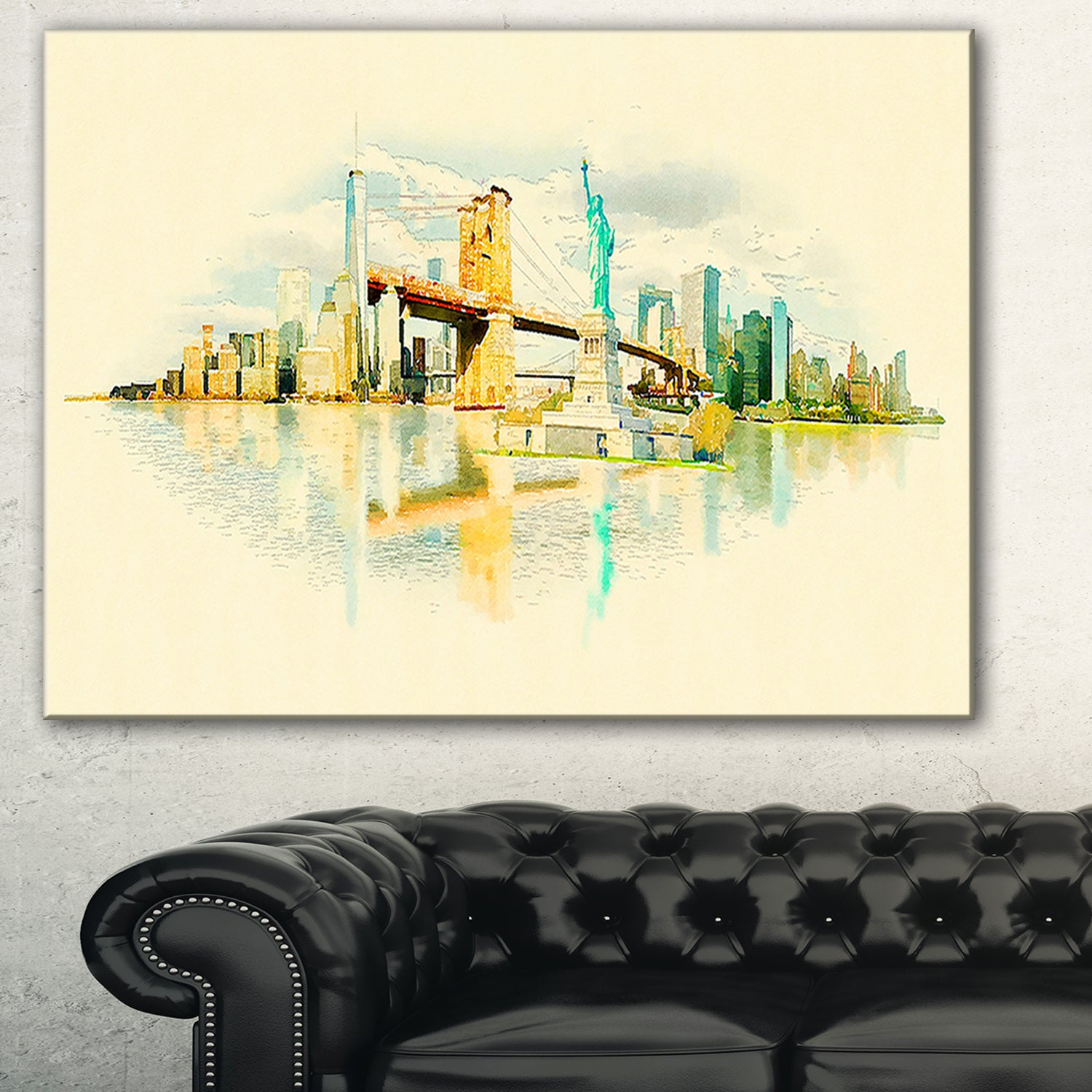 Shop New York Panoramic View\' Cityscape Watercolor Canvas Print ...