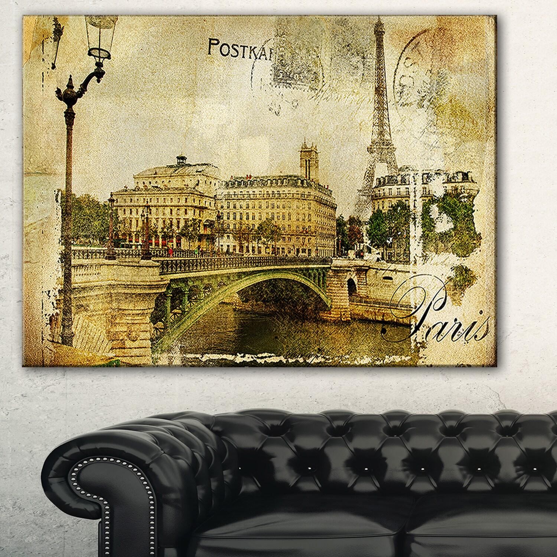 Shop Vintage Paris\' Digital Art Cityscape Canvas Print - GOLD - On ...