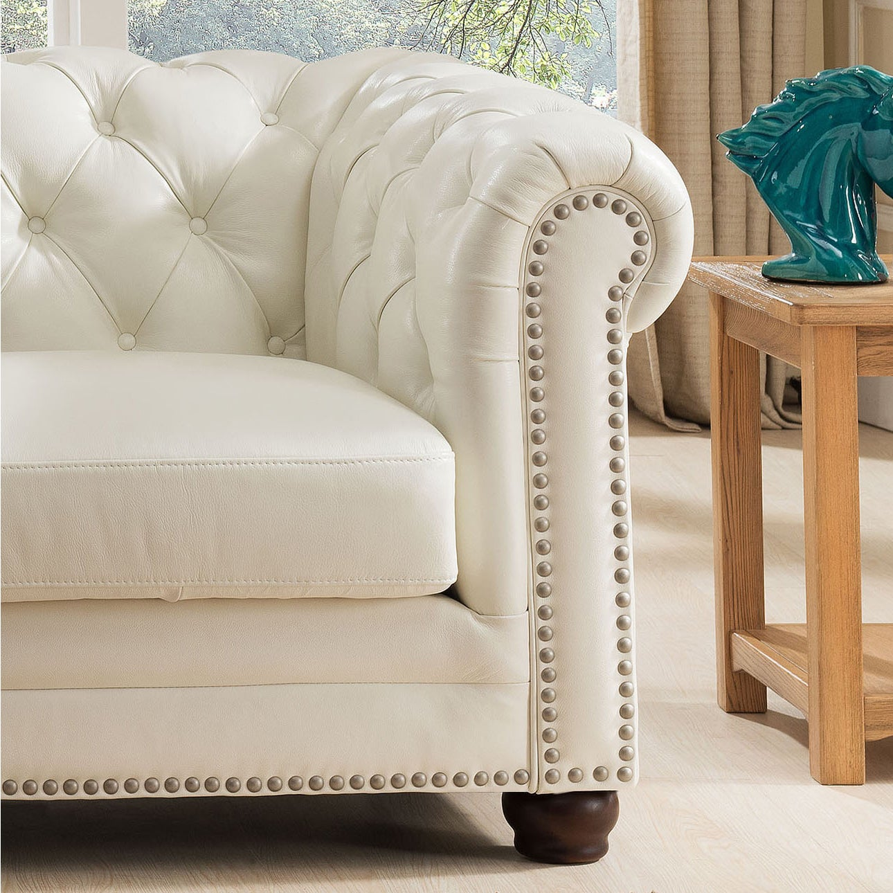 Nashville White Genuine Leather Chesterfield Sofa With Feather Down Seating Free Shipping Today 11624238