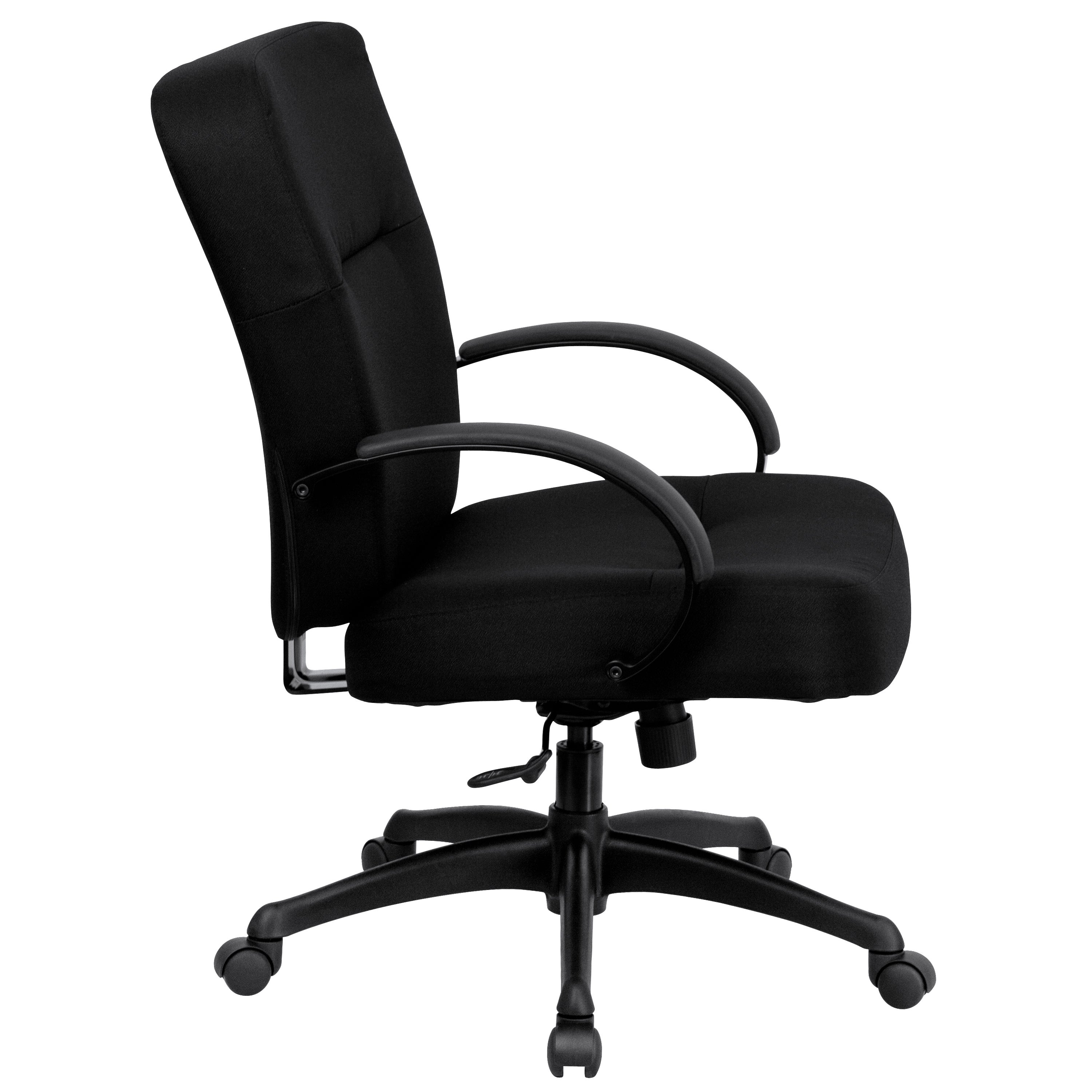 High Quality Werth Big And Tall Black Fabric Executive Swivel Office Chair With Extra  Wide Seat And Height Adjustable Arms   Free Shipping Today   Overstock    18562188