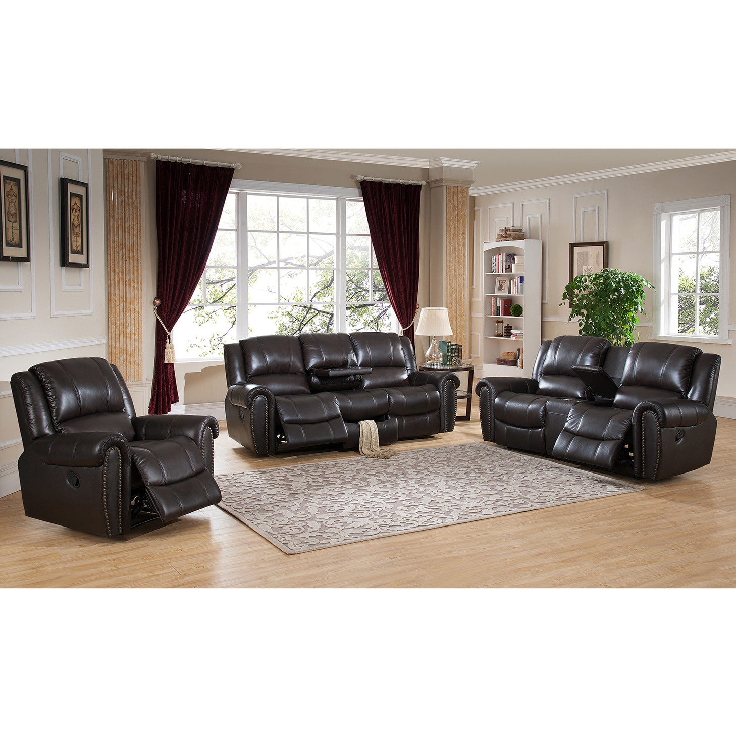 Charlotte Top Grain Leather Reclining Sofa With Memory Foam Storage Drawer And Pull Out Tray Table Free Shipping Today 11628082
