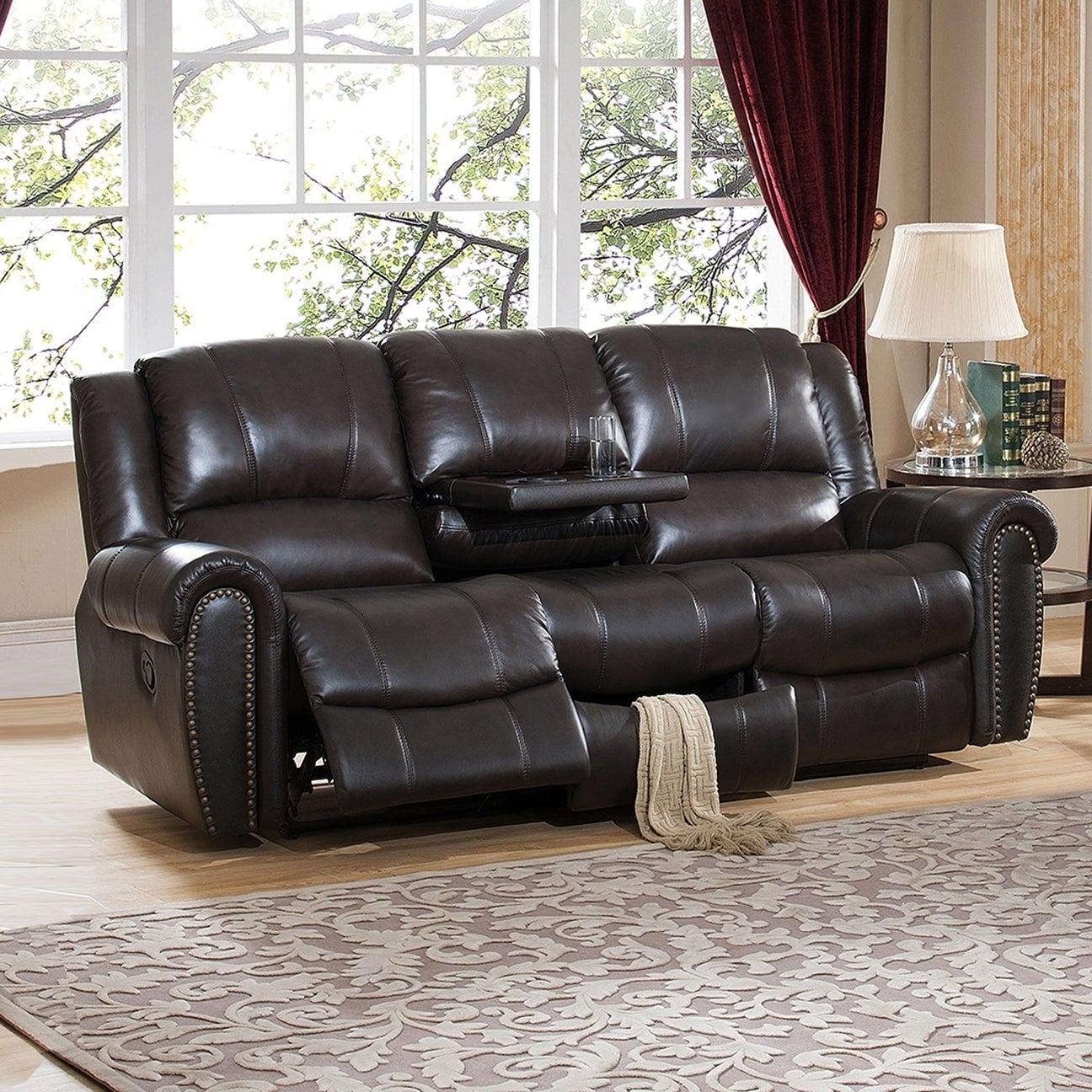 Charlotte Top Grain Leather Reclining Sofa With Memory Foam Storage Drawer And Pull Out Tray Table Free Shipping Today 18562657