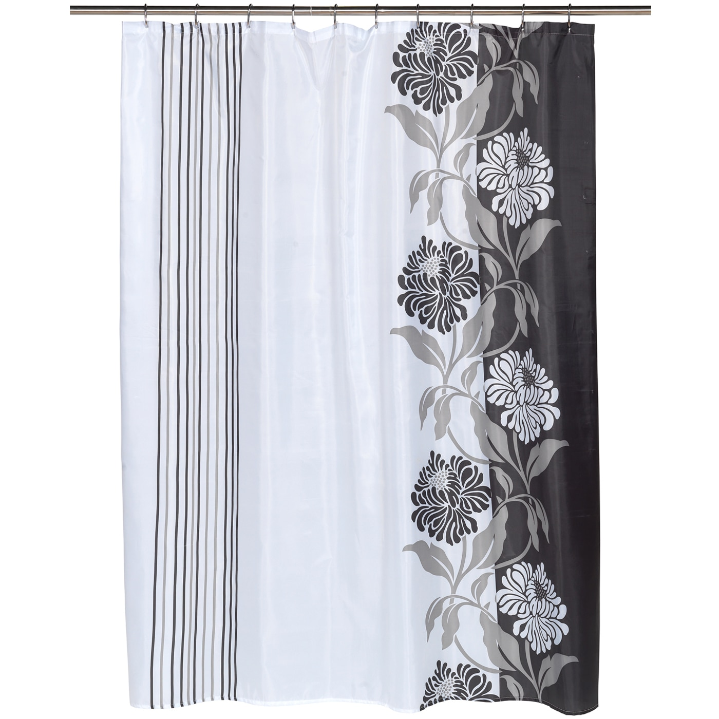 Shop Beautiful Black And White Flower Motif Extra Long Fabric Shower