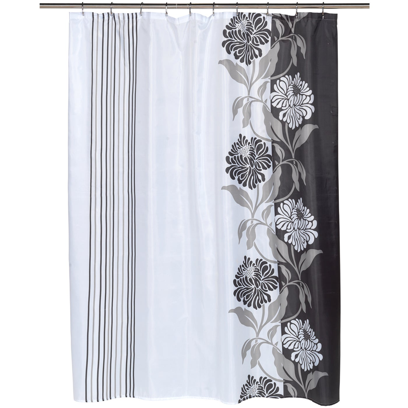 Black And White Flower Shower Curtain. Beautiful Black and White Flower Motif Extra Long Fabric Shower Curtain  70 x 84 Free Shipping On Orders Over 45 Overstock com 18563082