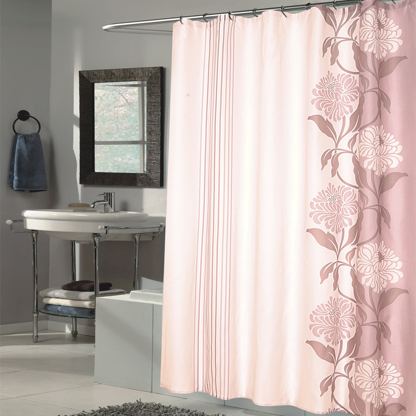 Shop Beautiful Mauve And Ivory Flower Motif Extra Long Fabric Shower