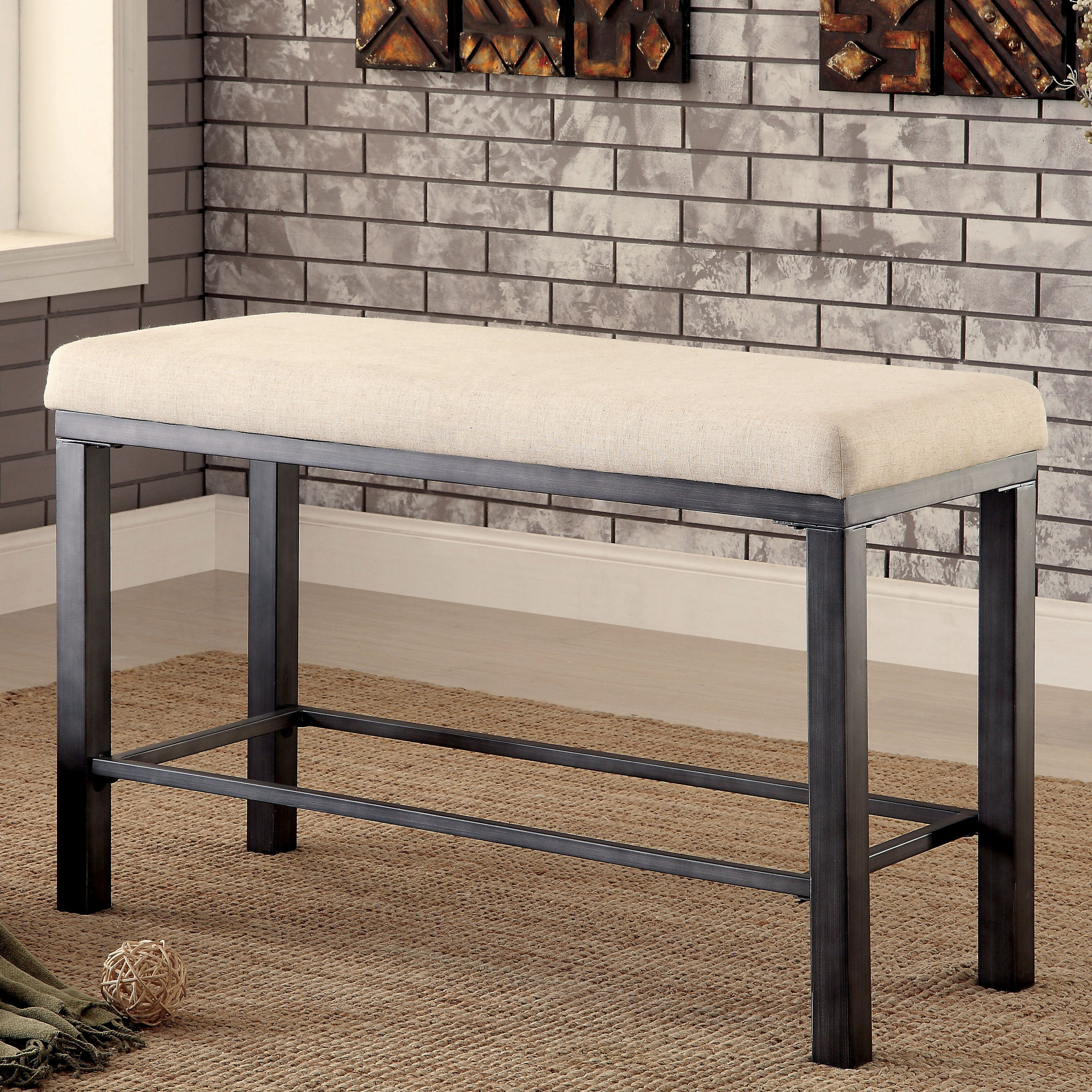 Furniture Of America Kesso Industrial Metal 25 Inch Counter Height Dining  Bench   Free Shipping Today   Overstock.com   18564699