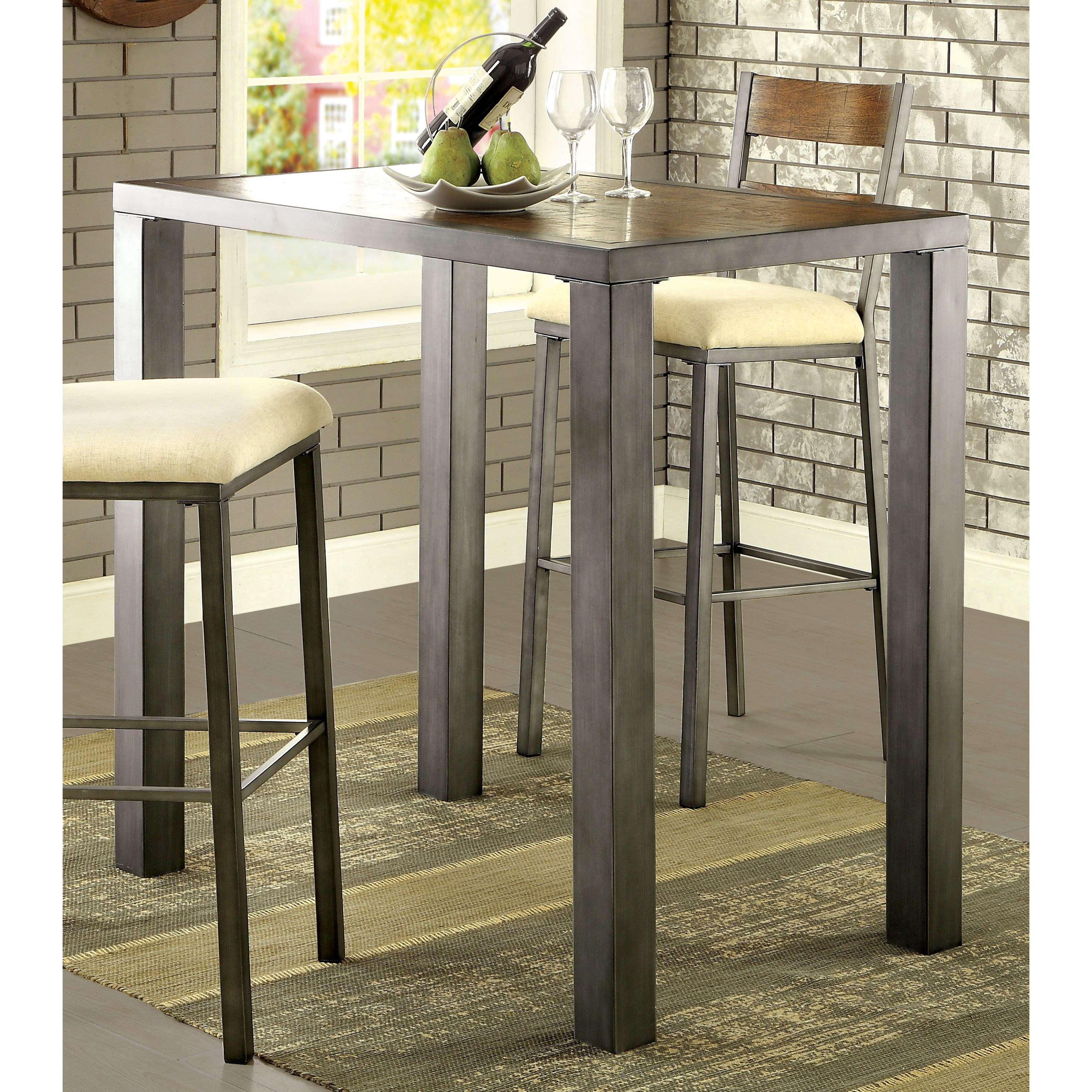 Shop Furniture Of America Kesso Industrial Plank Style Metal Bar Table   On  Sale   Free Shipping Today   Overstock.com   11630424