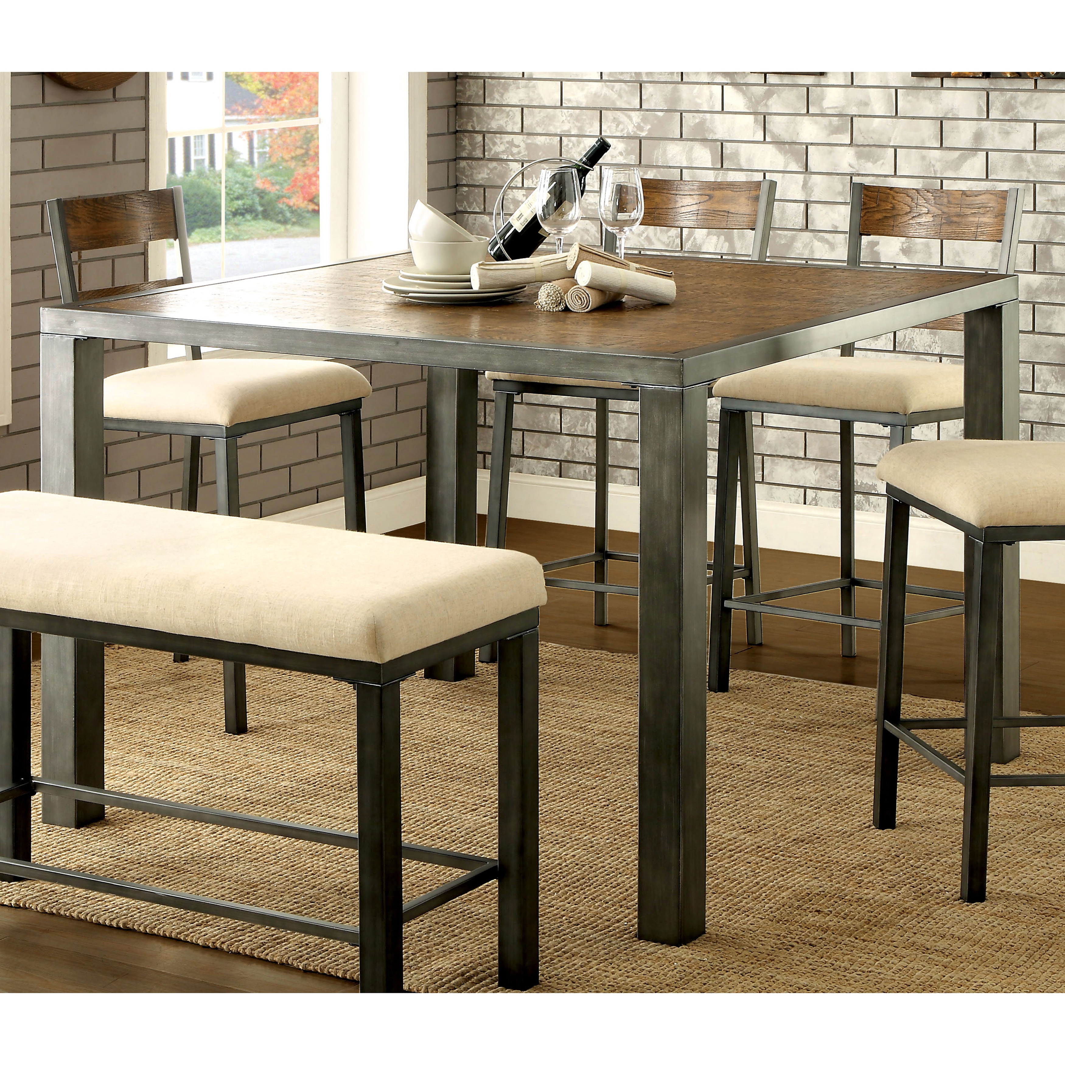 Silver Orchid Andreyor Weathered Oak Metal Counter Height Table