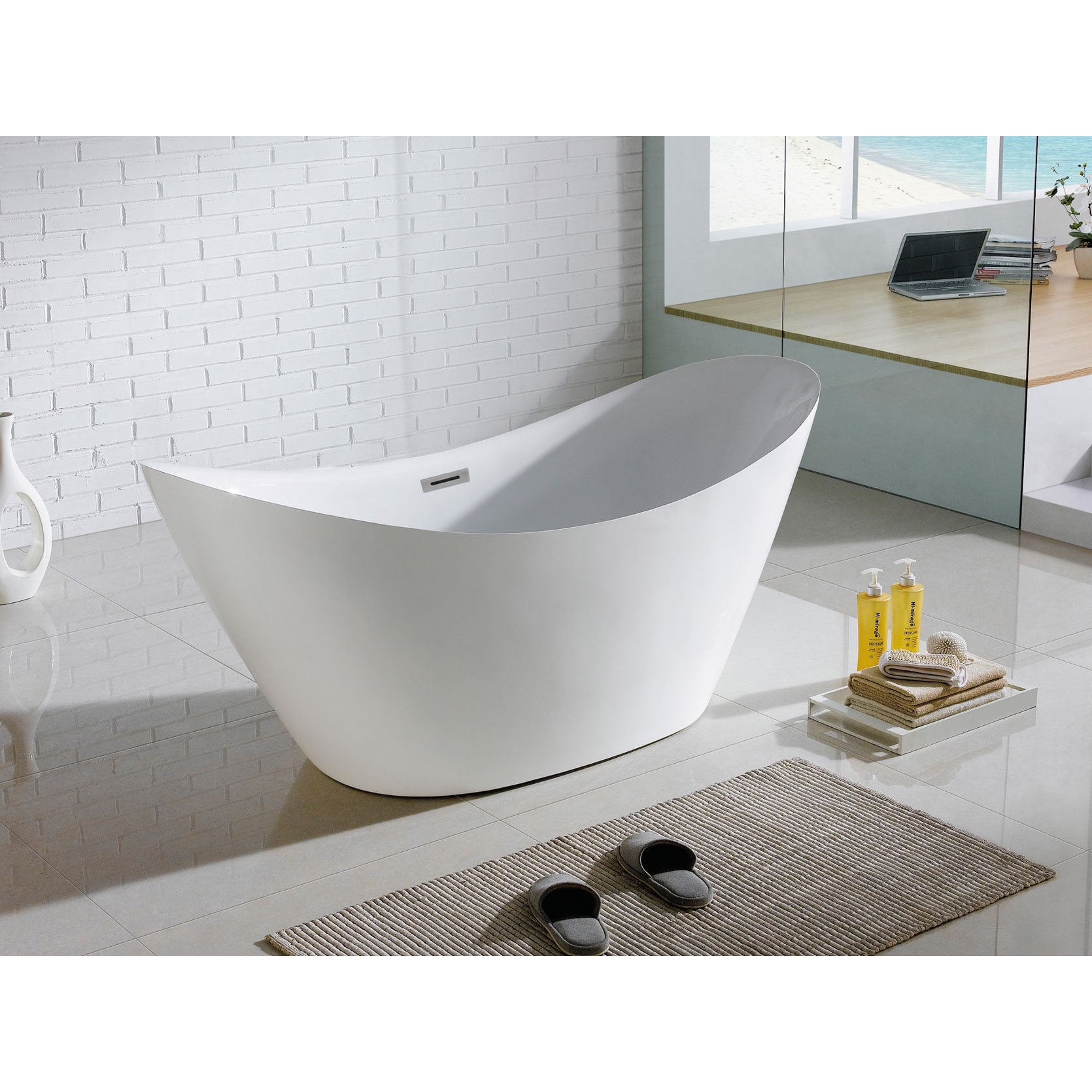 Riviera 67 Inch X 28 Inch White Oval Soaking Bathtub   Free Shipping Today    Overstock   18569766
