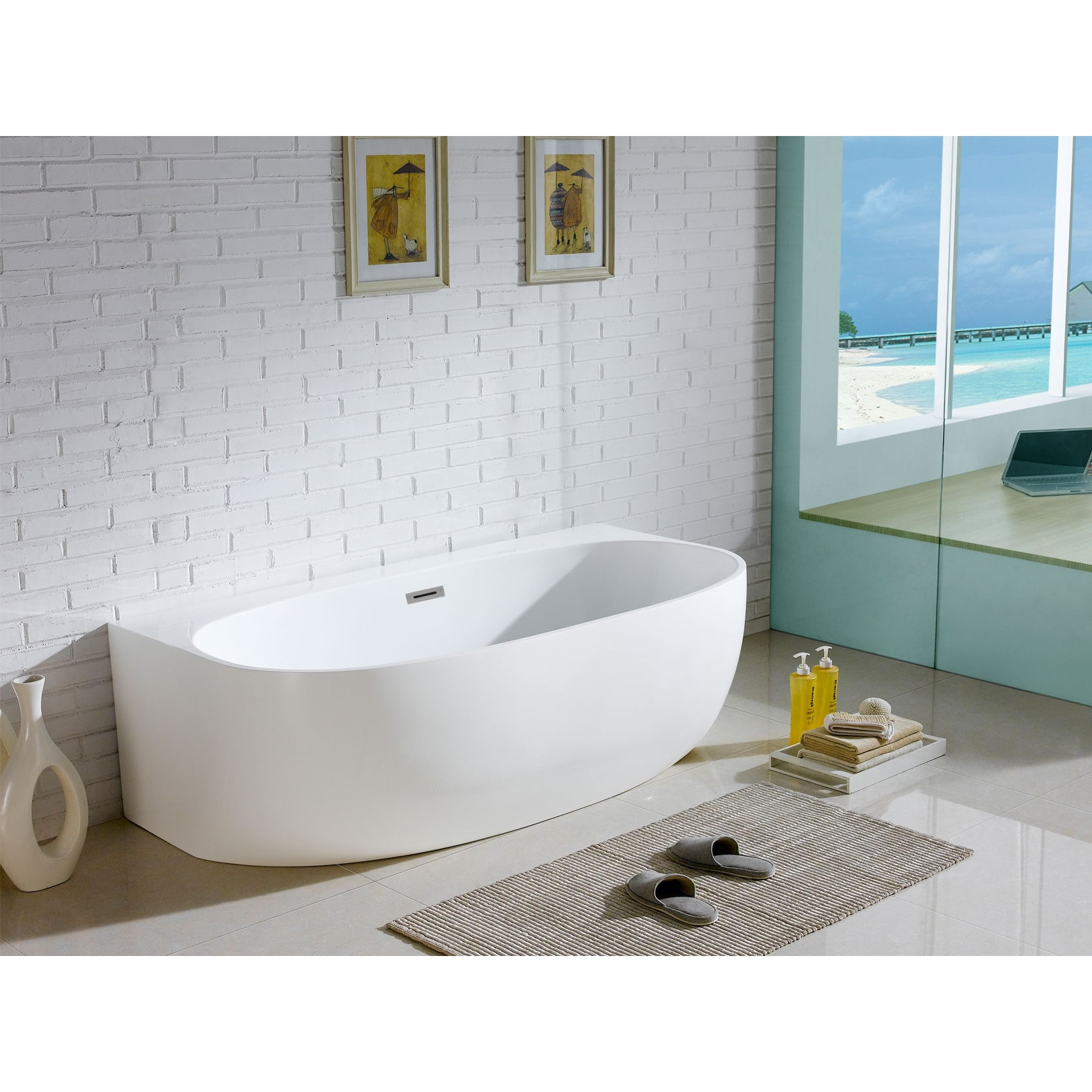 Monte 58 Inch X 33 Inch White Oval Soaking Bathtub   Free Shipping Today    Overstock   18569768