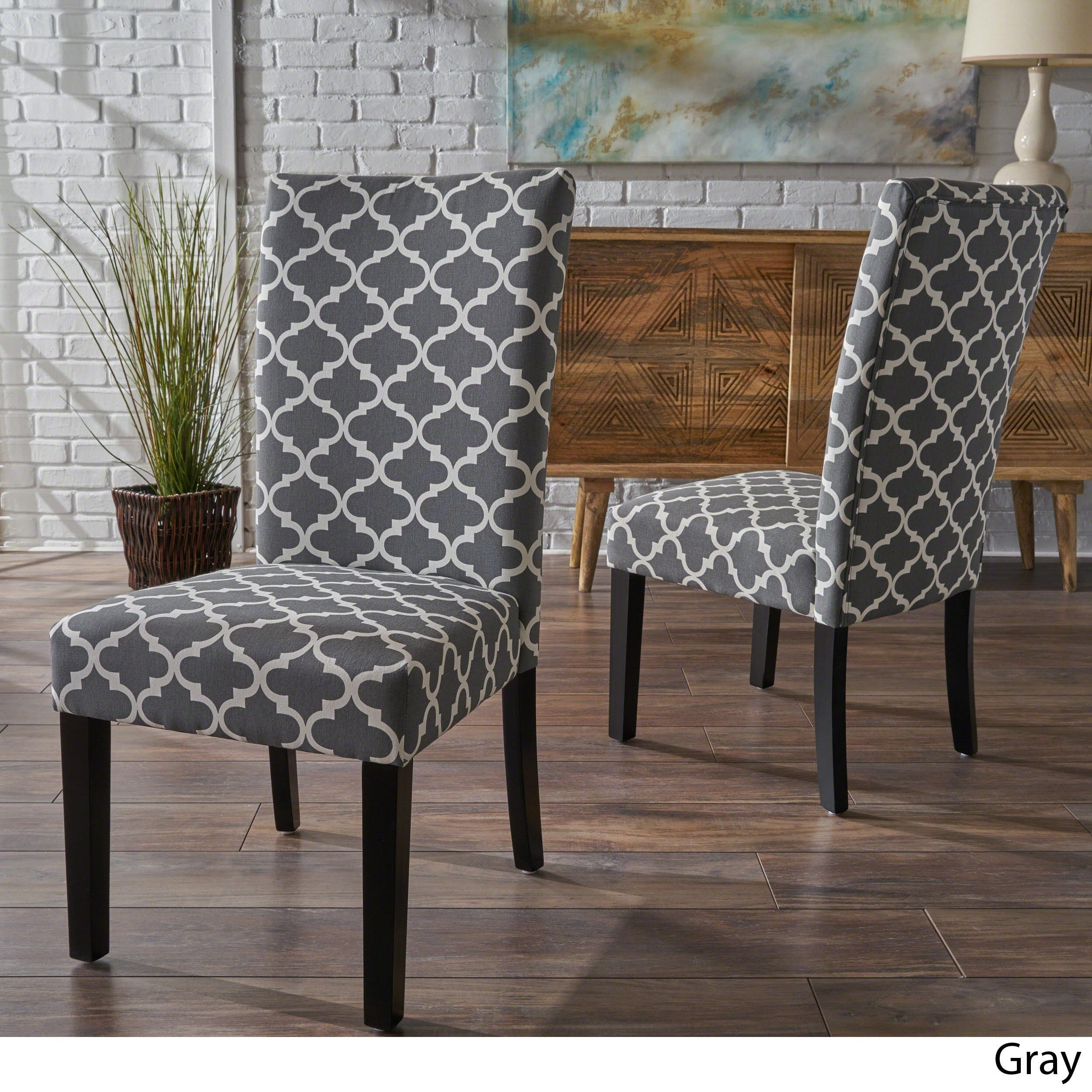 Charmant Shop Aurora Fabric Trellis Pattern Dining Chair (Set Of 2)   Free Shipping  Today   Overstock.com   11637501