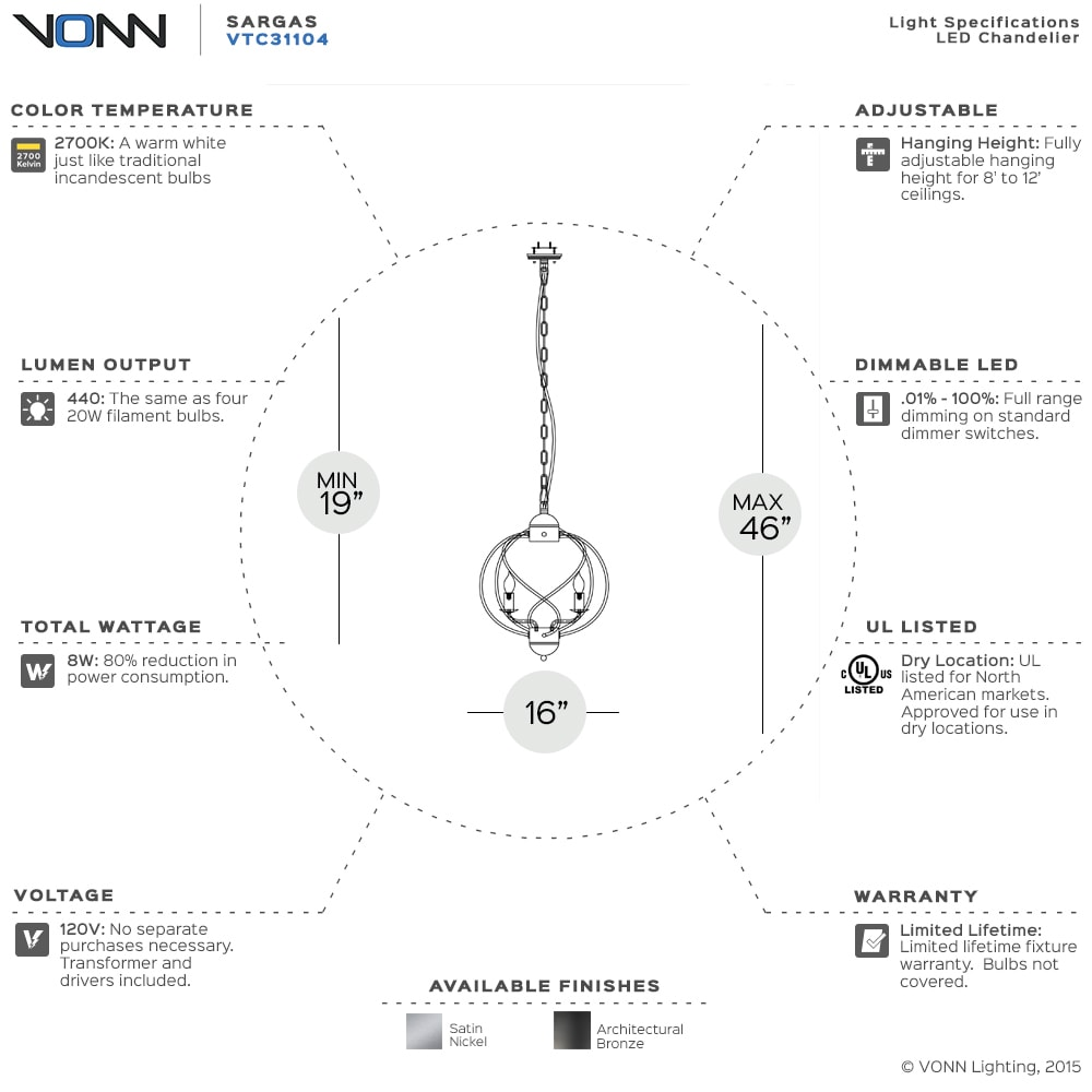 Shop Vonn Lighting Vvc31203sn Dorado 53 Inch Linear Hanging Chandelier Dimmer Wiring Diagram Industrial Nickel With Led Filament Bulbs Free Shipping Today