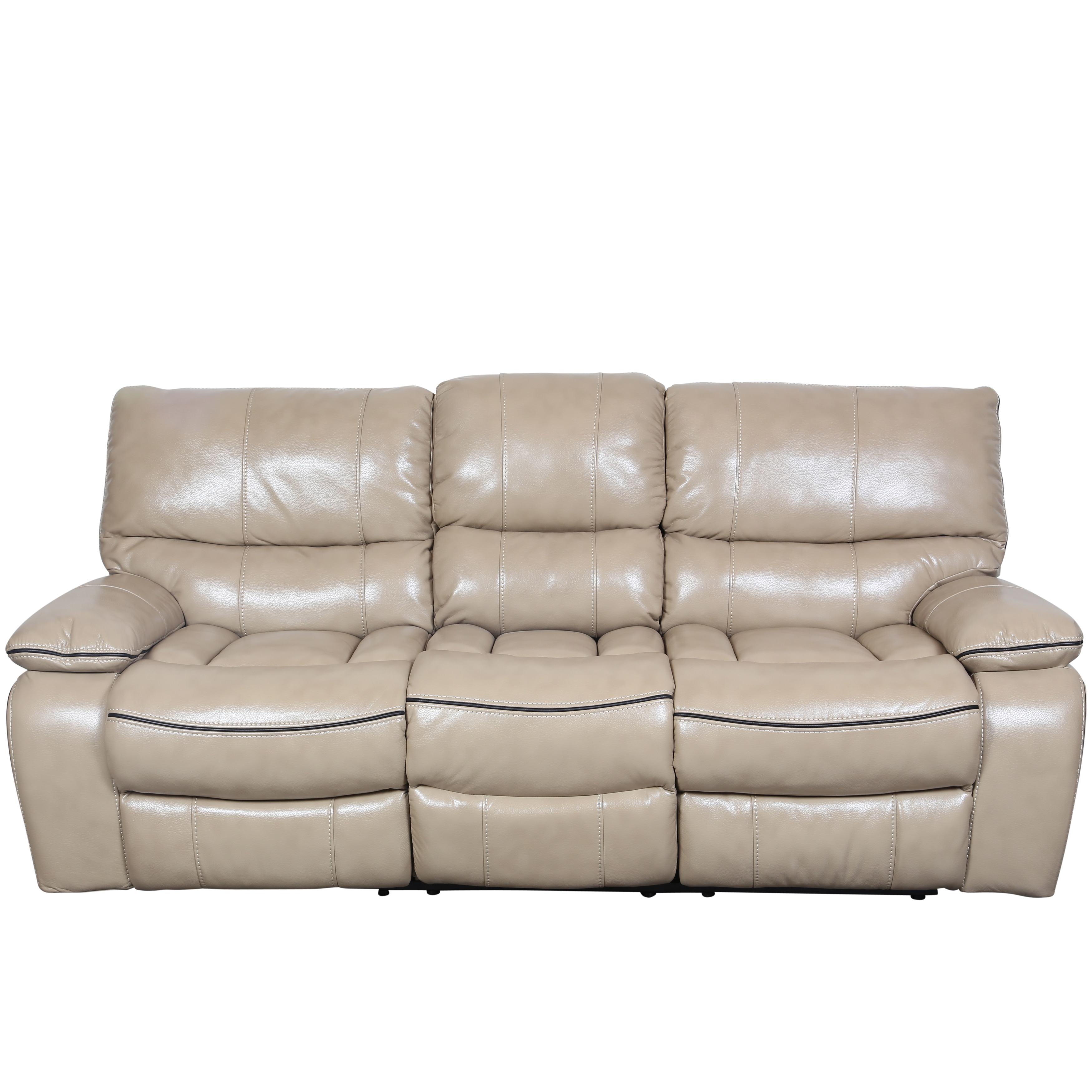 Shop Porter Alameda Cream Vegan Leatherlike Dual Reclining Sofa With  Contrast Welt And Fold Down Console   Free Shipping Today   Overstock.com    11641227