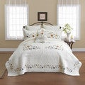 Copper Grove Winterfold Floral Cotton Embroidered Quilted Bedspread