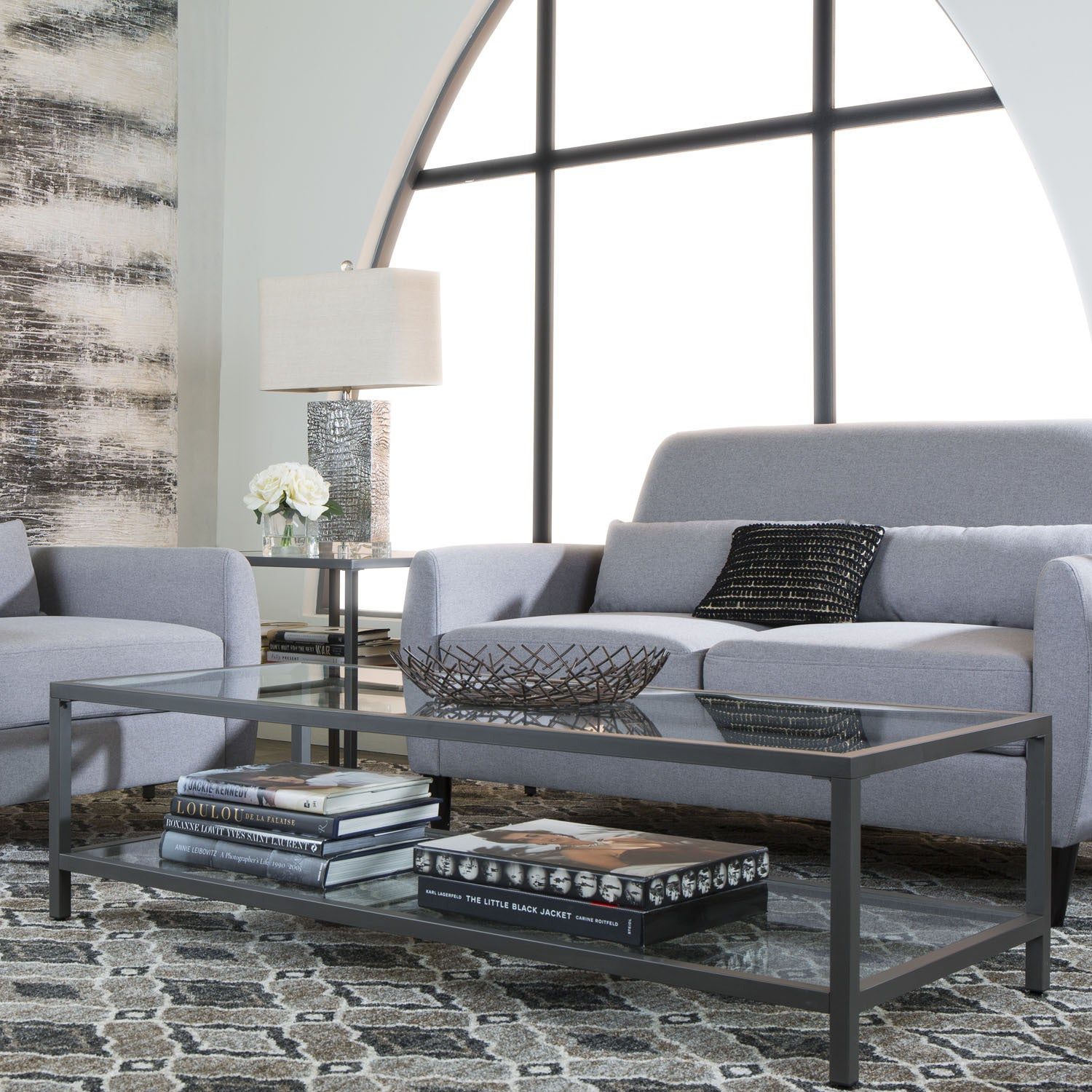Shop Offex Camber Collection Rectangle Clear Glass And Pewter Coffee - Pewter glass coffee table