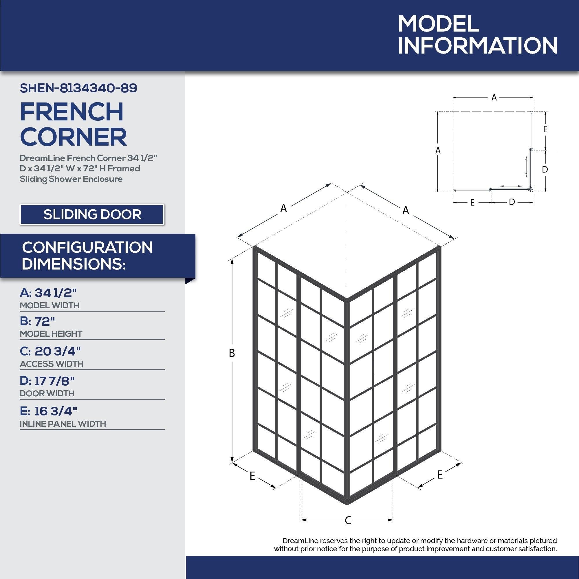 Shop DreamLine French Corner 34 1/2 in. D x 34 1/2 in. W x 72 in. H ...
