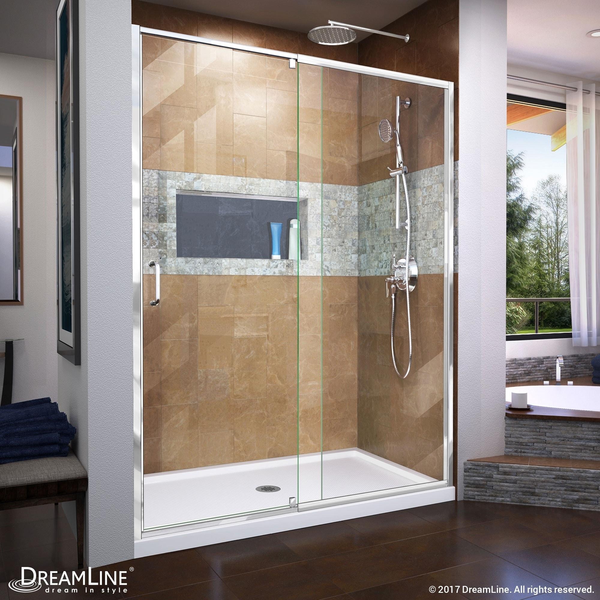Shop DreamLine Flex 56-60 in. W x 72 in. H Semi-Frameless Pivot ...