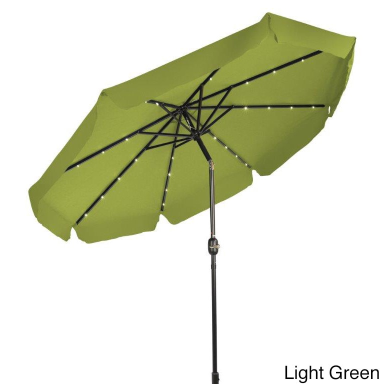 Shop Trademark Innovations 9u0027 Deluxe Solar Powered LED Lighted Patio  Umbrella With Decorative Edges   Free Shipping Today   Overstock.com    11643230