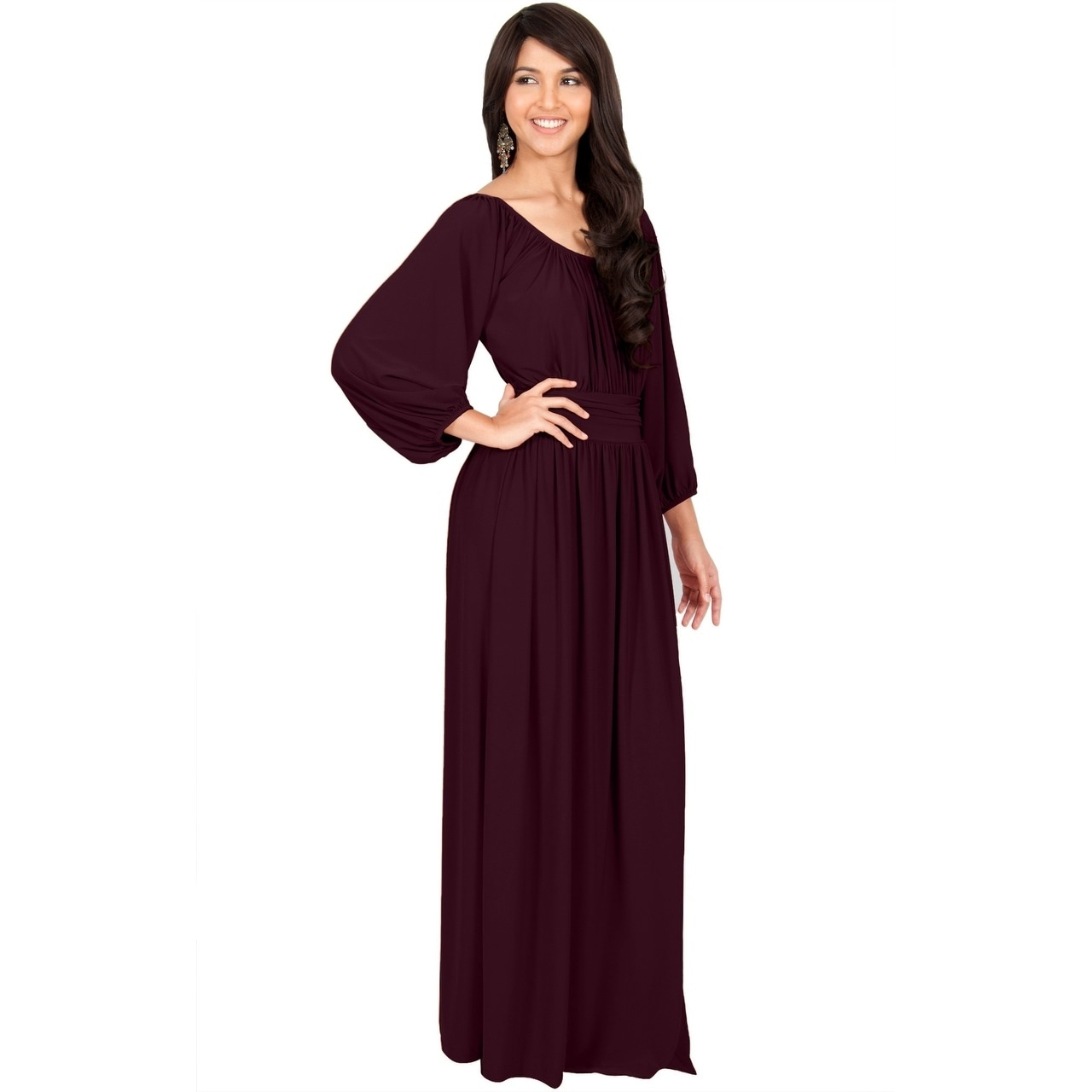 ed9b8205070c Shop KOH KOH Womens Long Sleeve Round Neck Empire Waistline Full Maxi Dress  - Free Shipping Today - Overstock - 11643513