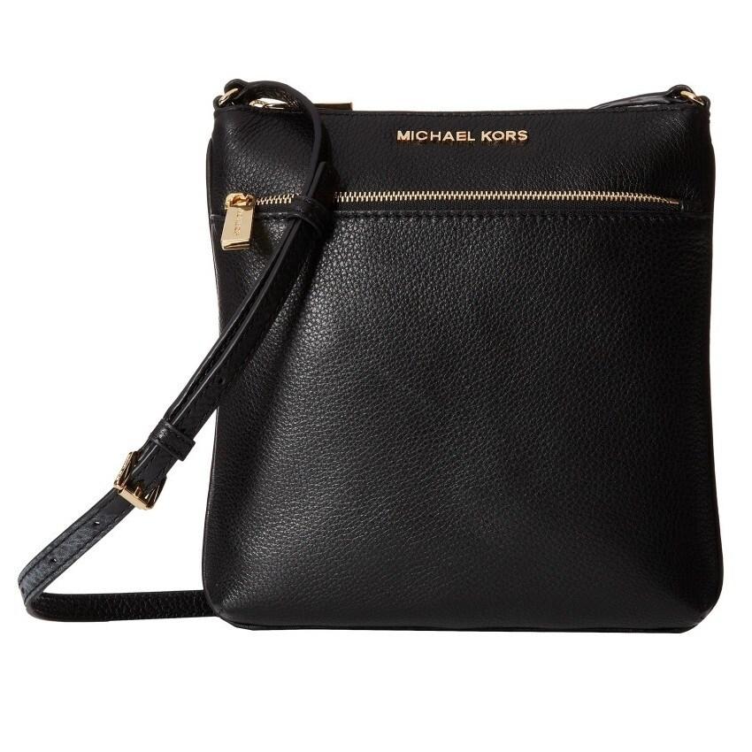d939ce414883 Shop Michael Kors Riley Black/Gold Small Flat Crossbody Handbag ...