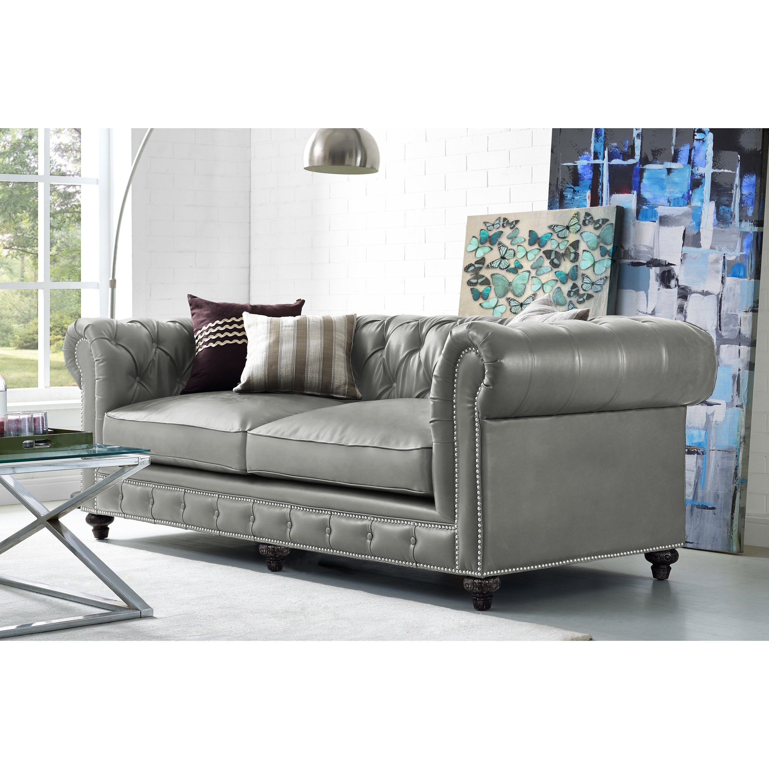 Rustic Grey Leather Sofa With Chesterfield Design Free Shipping Today 11651453