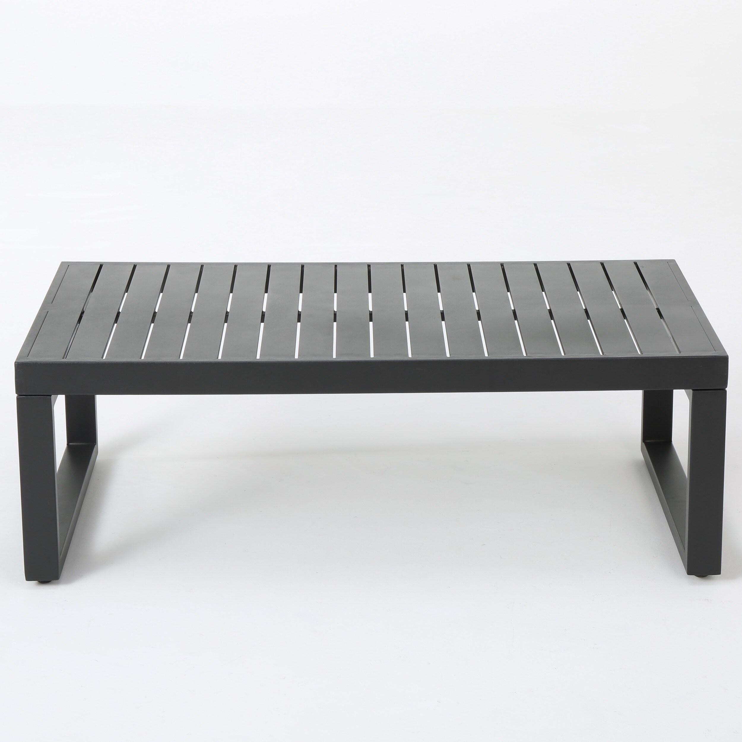 Navan Outdoor 4-piece Aluminum Conversation Set with Grey Cushions ...