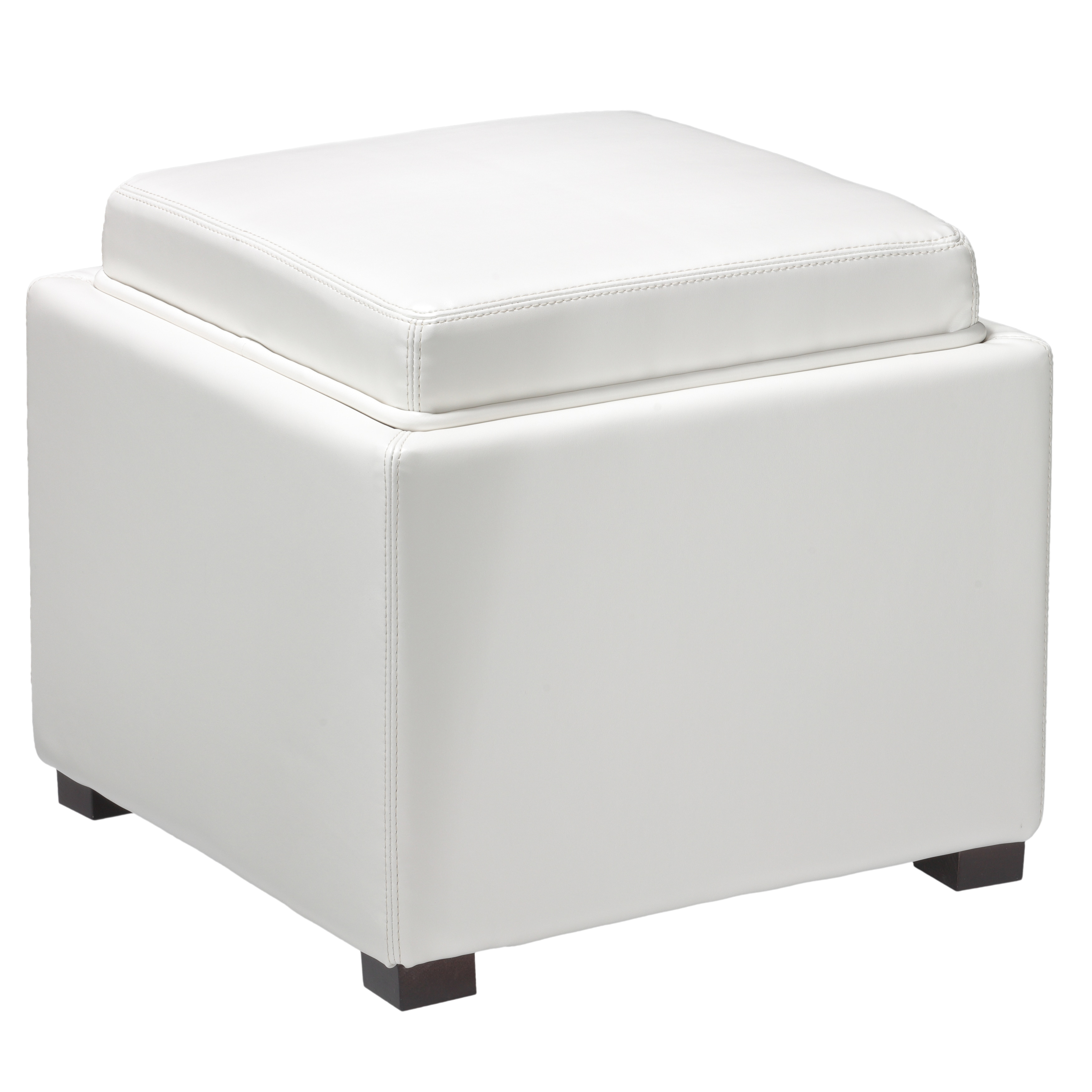 Shop Cortesi Home Mavi Snow White Storage Tray Ottoman In Bonded Leather    Free Shipping Today   Overstock.com   11651548