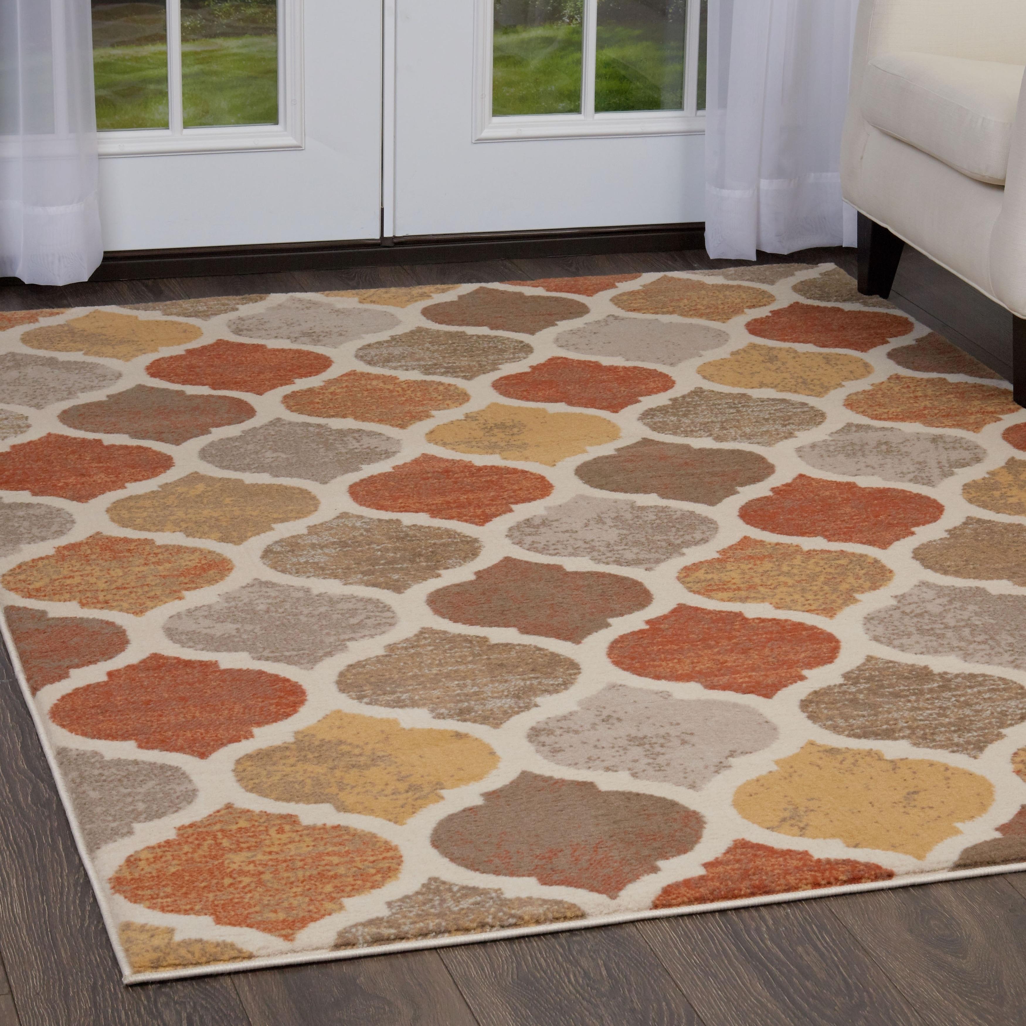 Home Dynamix Tremont Trellis Beige Orange Area Rug 78 X 107