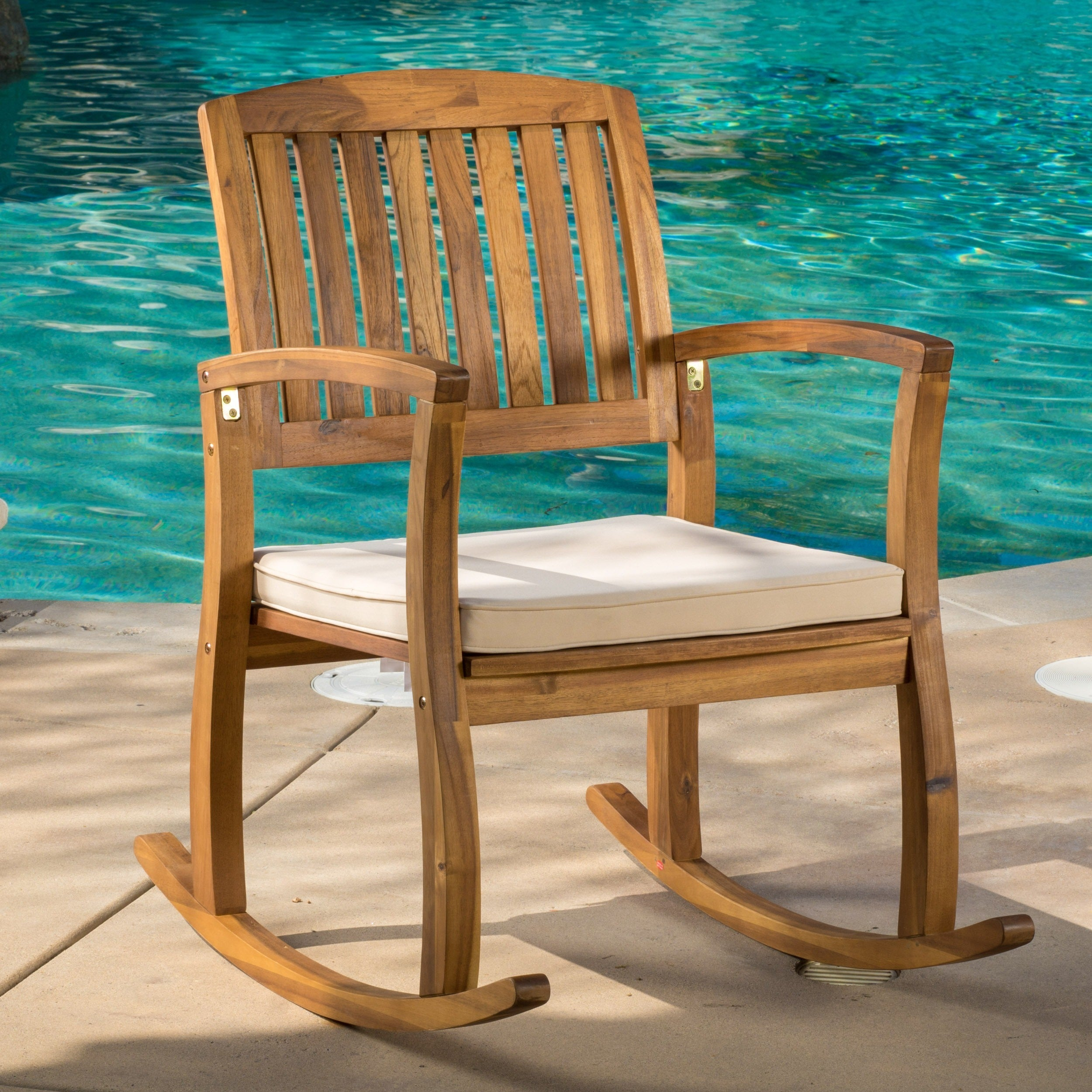 Lucca Outdoor Acacia Wood Rocking Chair With Cushion By Christopher Knight  Home   Free Shipping Today   Overstock.com   18584409