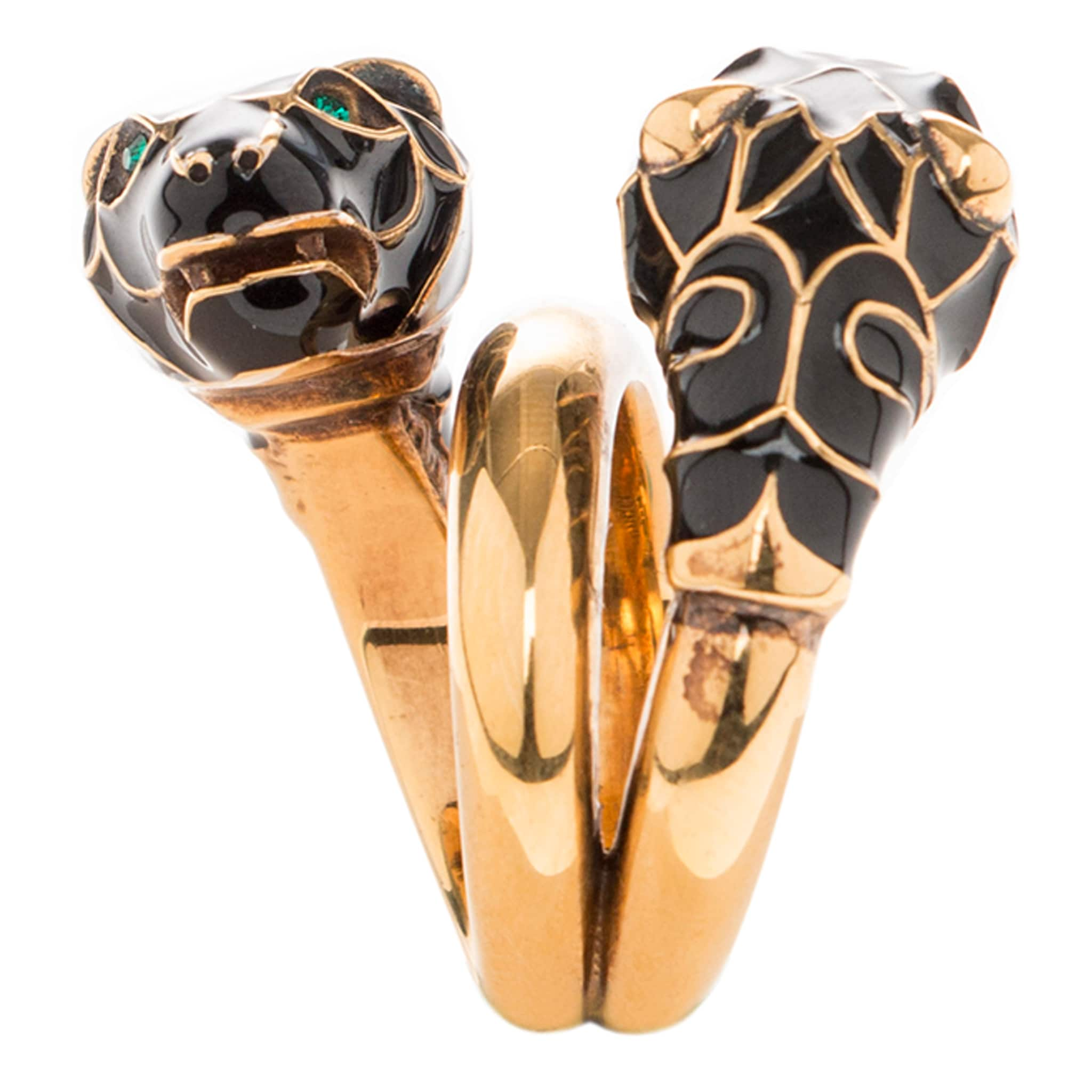 0adb69a37 Shop Gucci Yellow Gold Overlay Tiger Head Black Enamel Ring - Free Shipping  Today - Overstock - 11654497