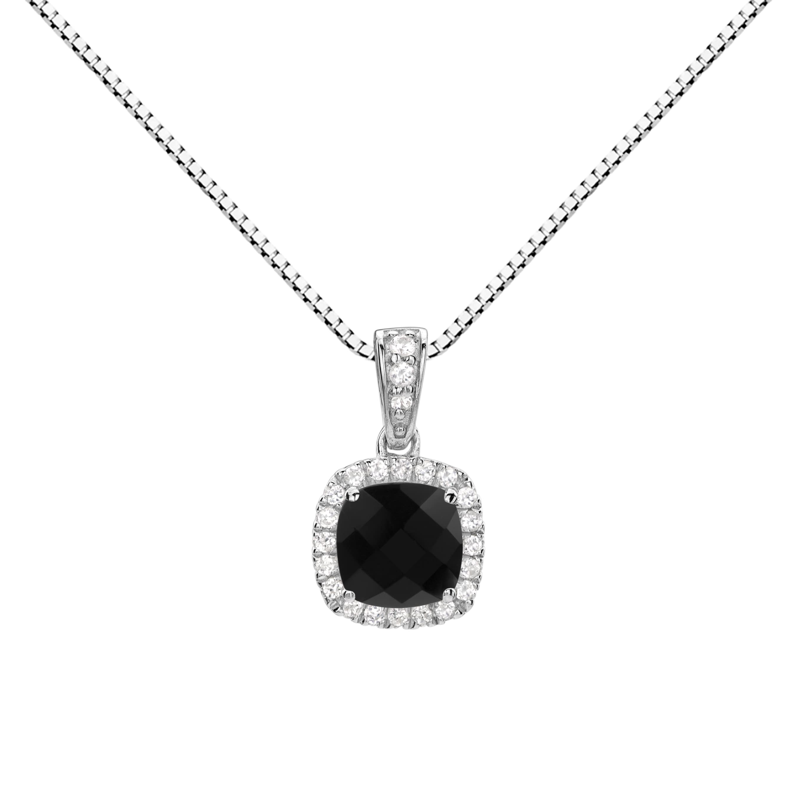 black shipping free sterling watches silver checkerboard pendant onyx cushion halo necklace overstock jewelry today product