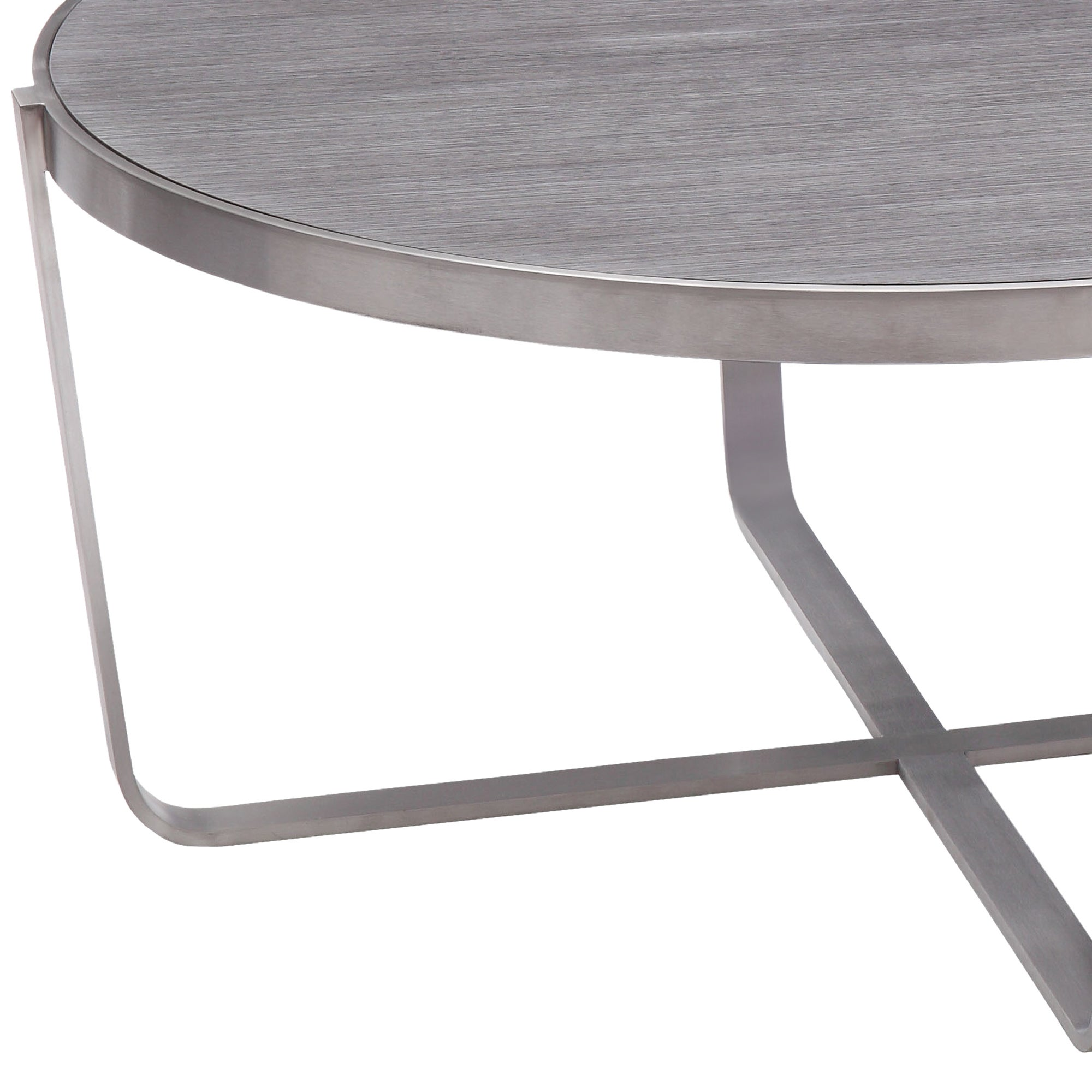 Armen Living Nova Coffee Table In Brushed Stainless Steel With Grey Top    Free Shipping Today   Overstock   18586336