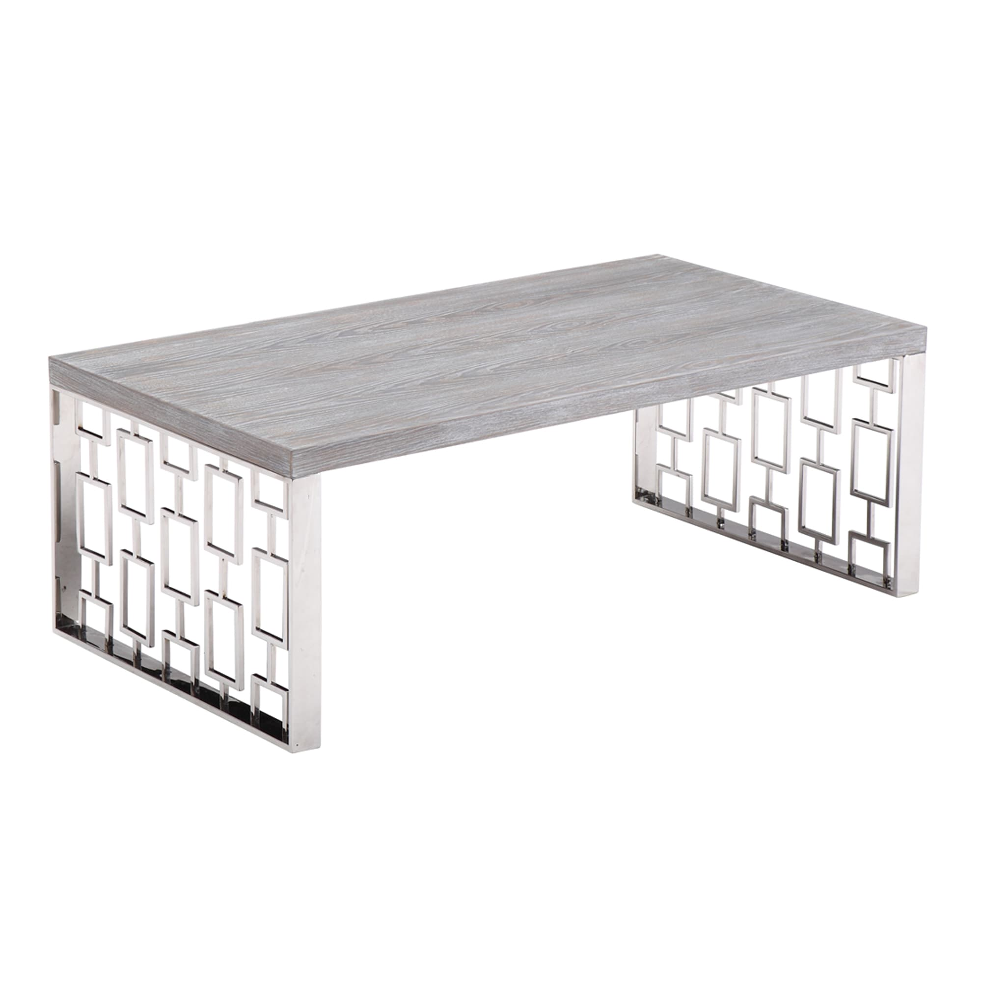 Armen Living Skyline Grey Wash Wood Coffee Table In Brushed Steel Finish    Free Shipping Today   Overstock.com   18586352