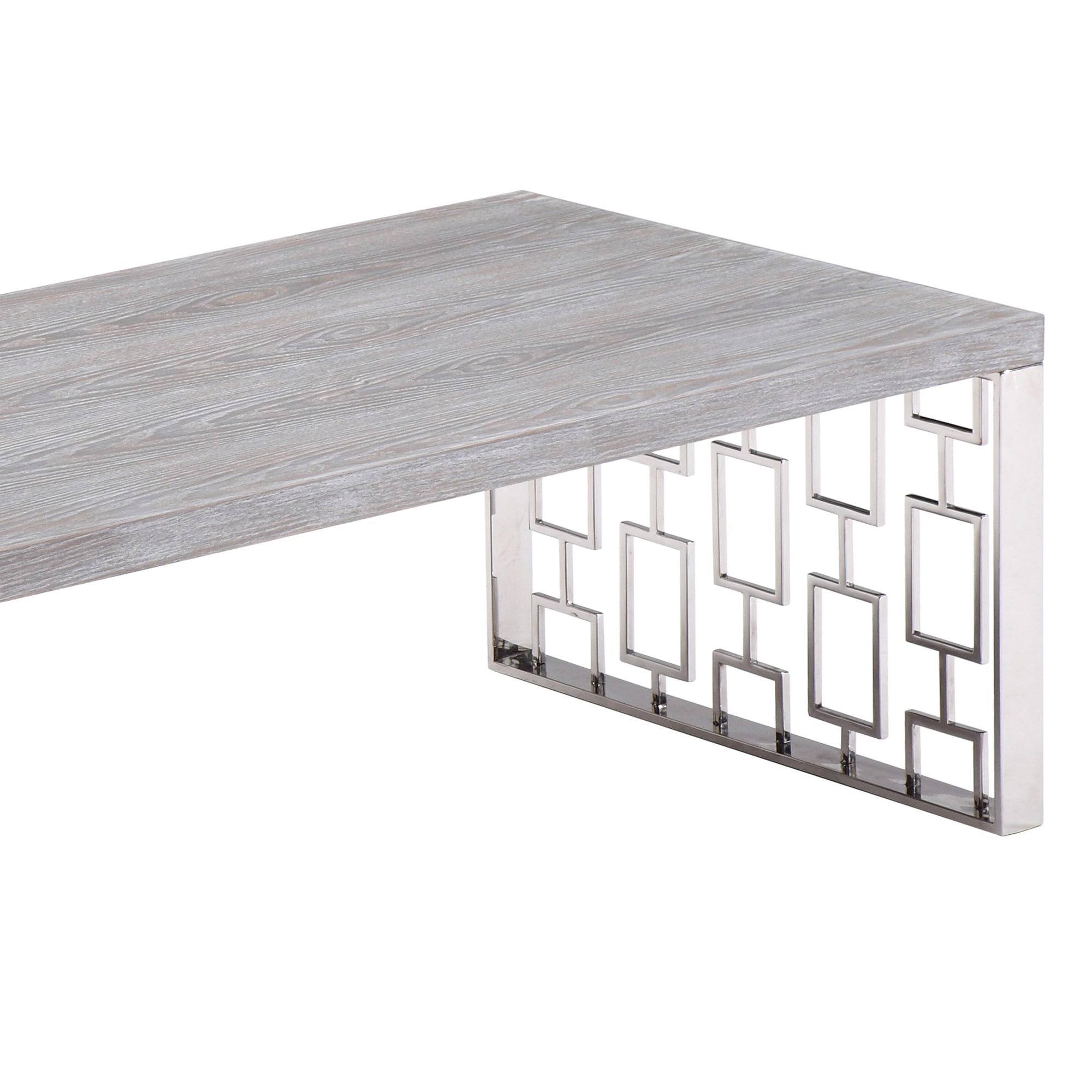 Armen Living Skyline Grey Wash Wood Coffee Table in Brushed Steel