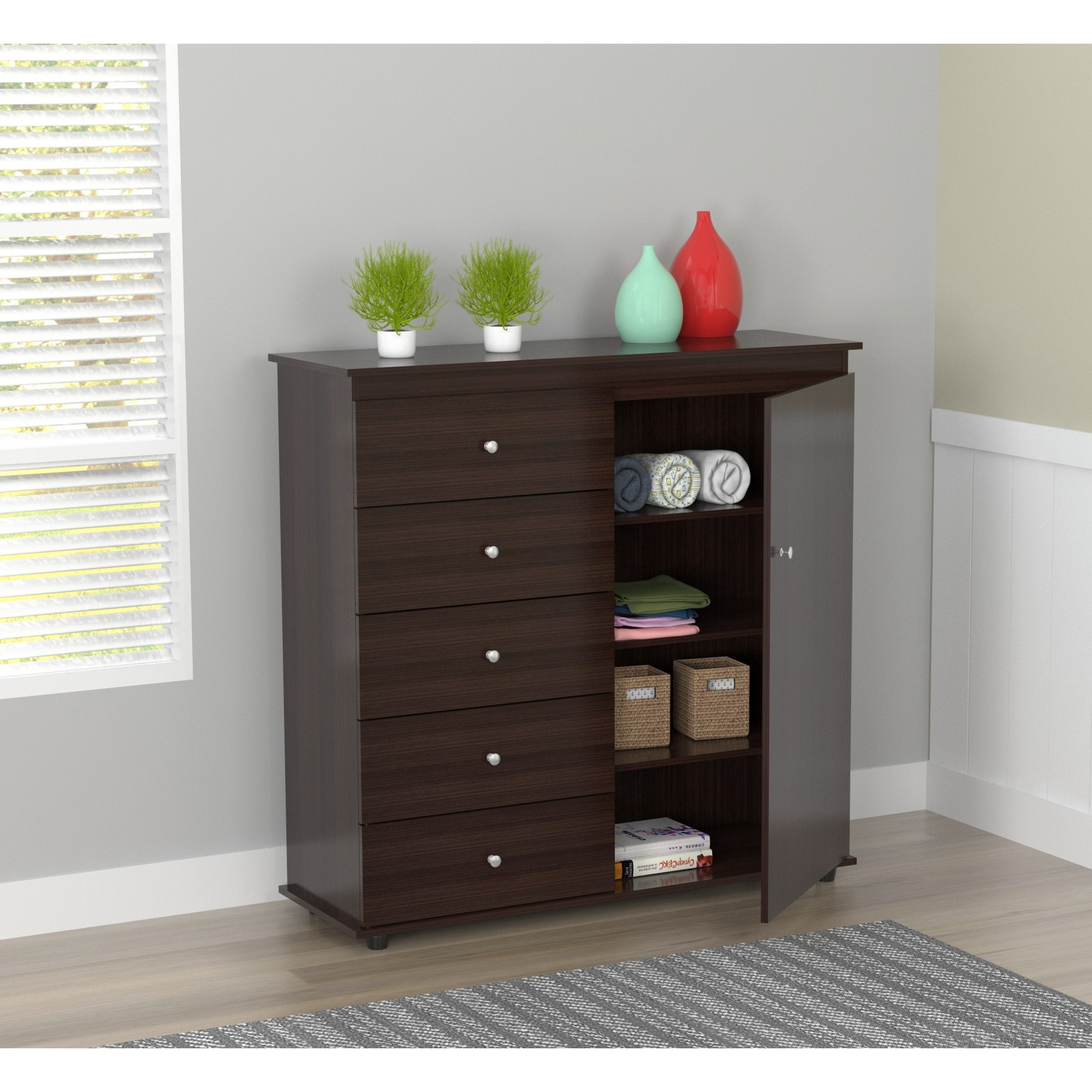 Inval Espresso Wenge Armoire/ Dresser Combo   Free Shipping Today    Overstock.com   18588892