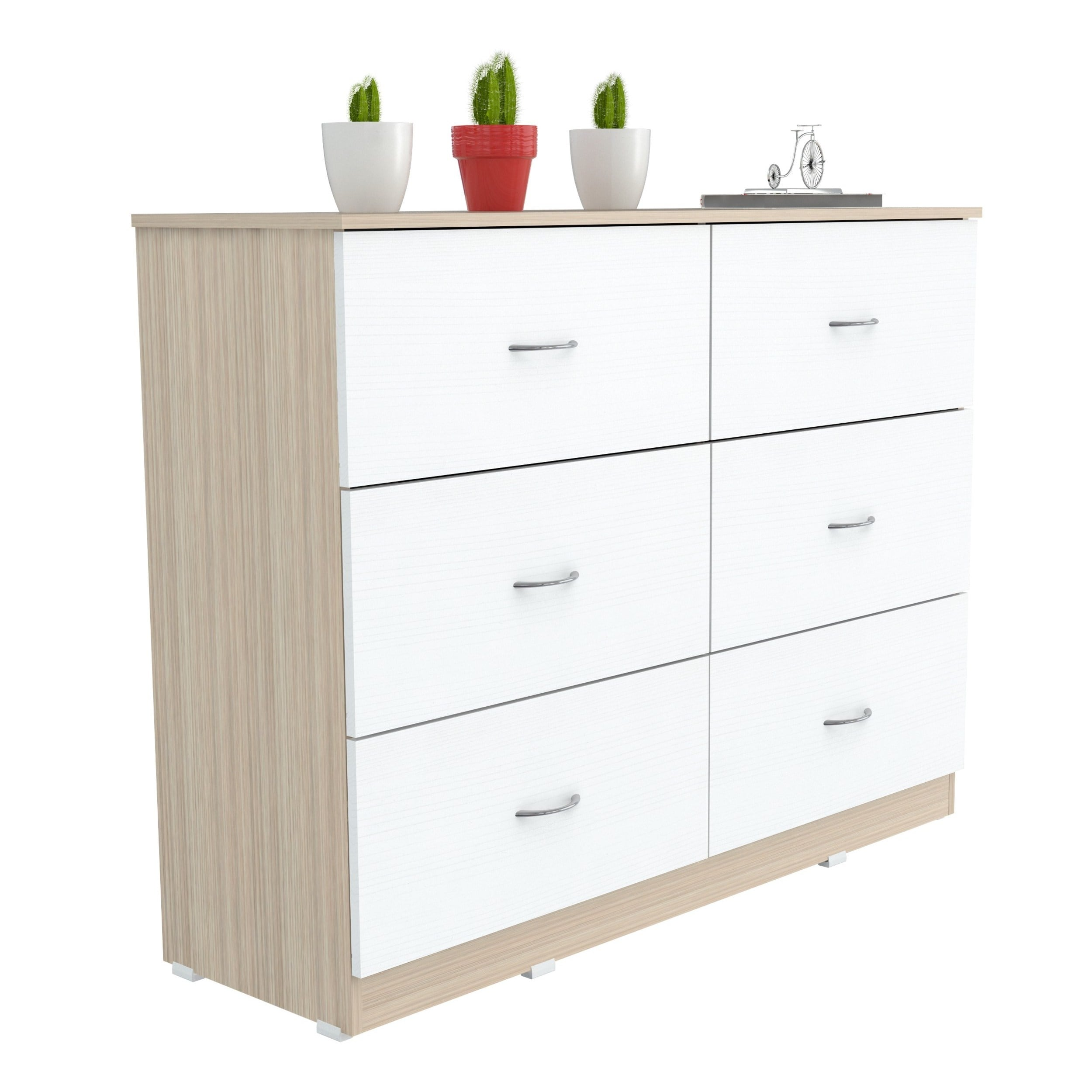 Inval Laura Laricina White Beech Six Drawer Dresser Free Shipping Today 18588890