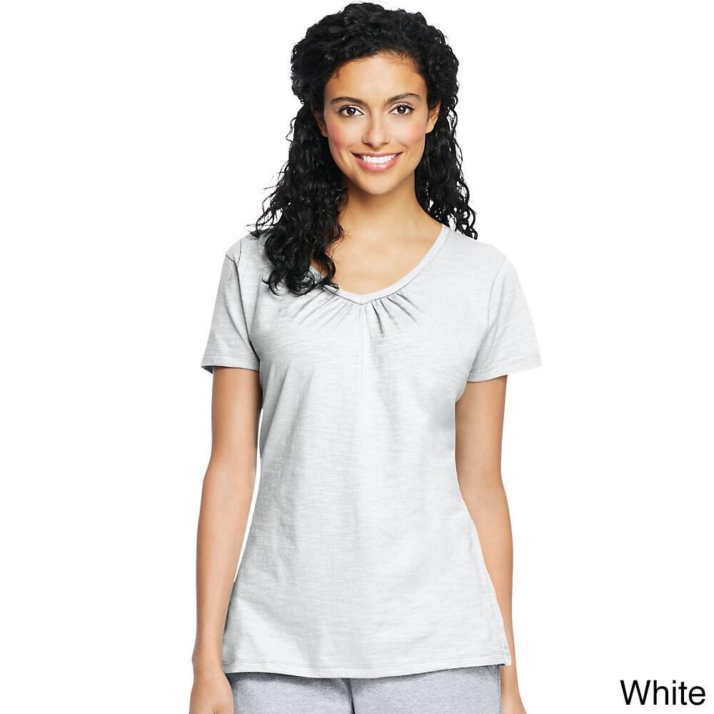 0063b7d146b Shop Hanes Women s Slub Jersey Shirred V-Neck - Free Shipping On Orders  Over  45 - Overstock - 11661147