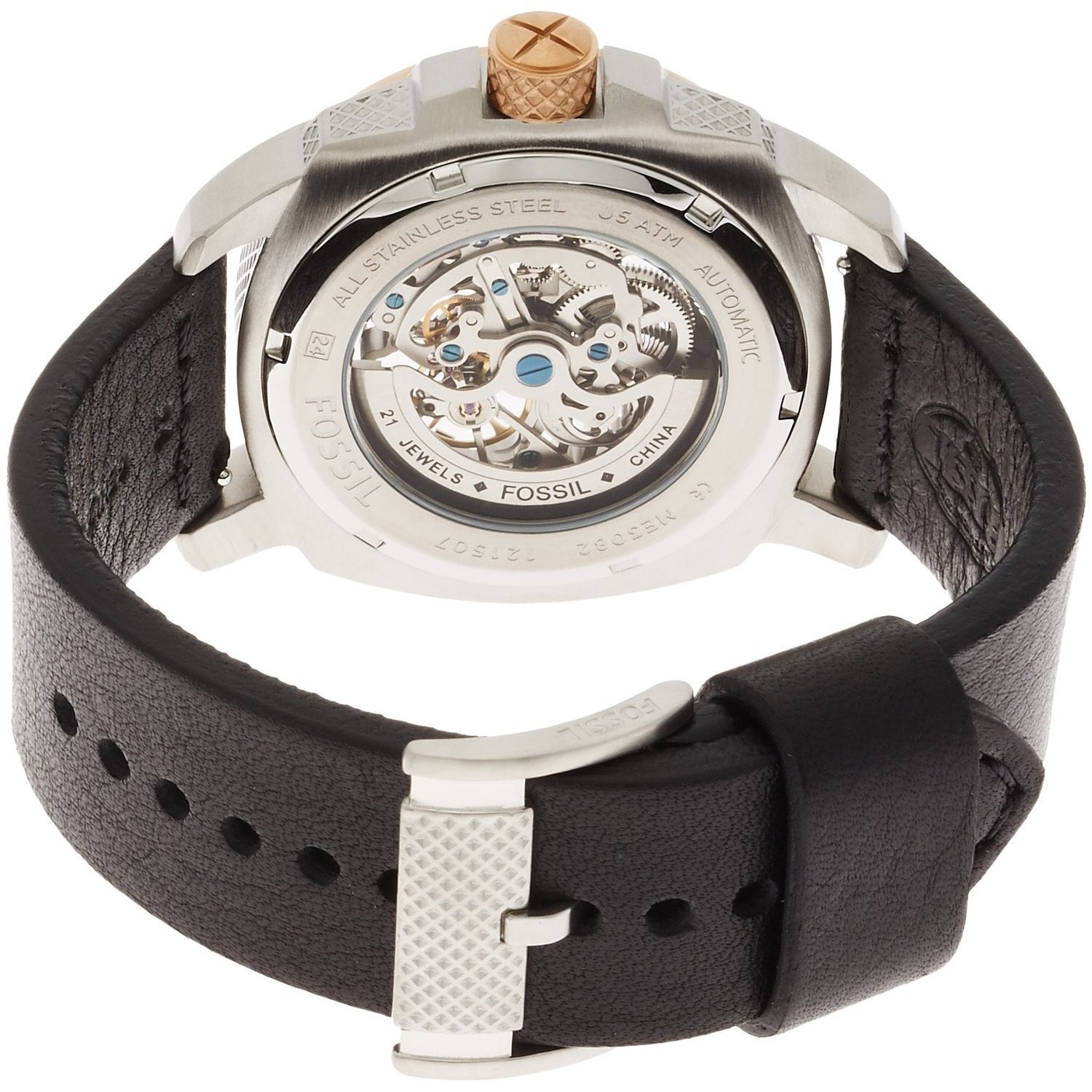 Mens Black Fossil Machine Automatic Steel Oror Me3130 Shop Me3082 Modern Skeleton Dial Leather Watch Free Shipping Today