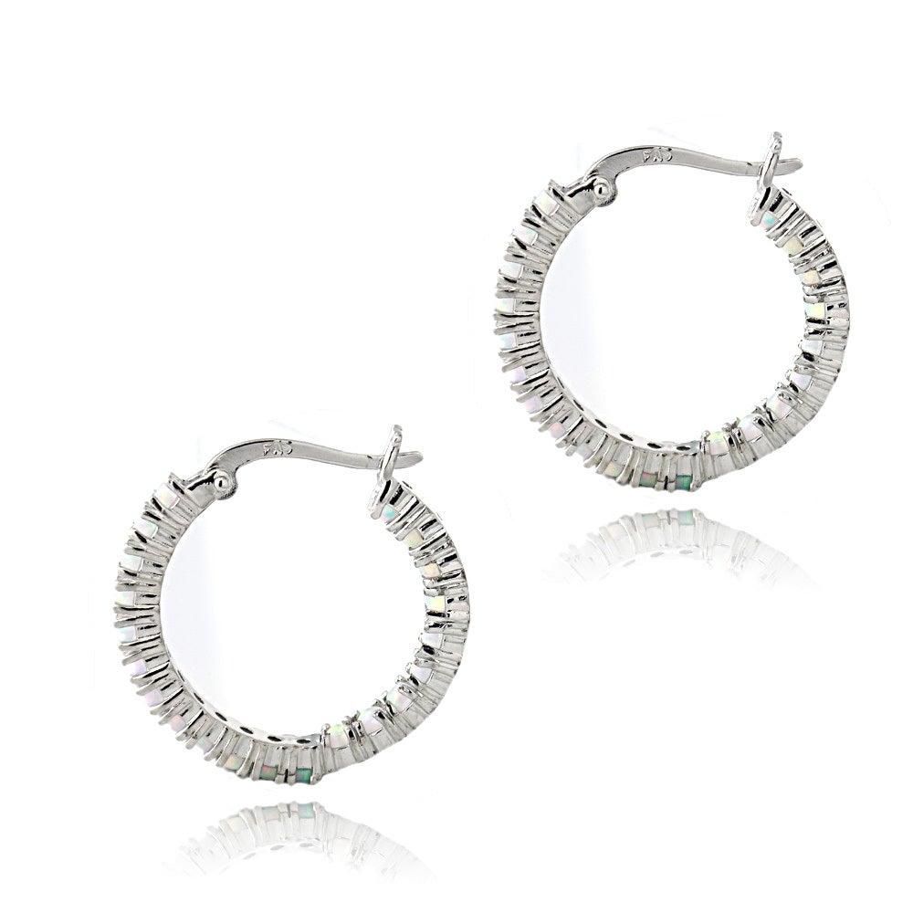 bd9160c87bad9 Glitzy Rocks Sterling Silver Created Opal Inside Out Hoop Earrings