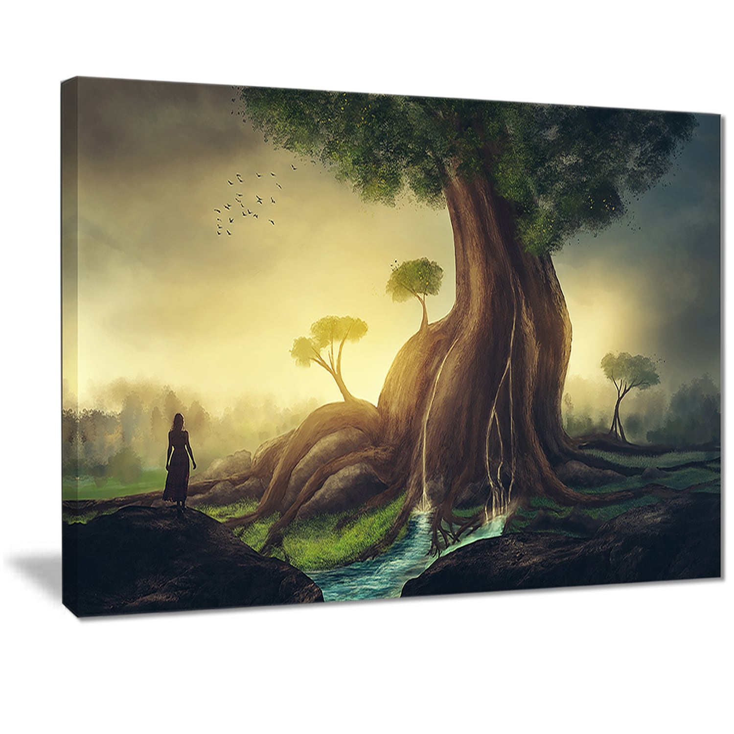 Shop Designart \'Giant Tree with Woman\' Digital Art Canvas Print ...