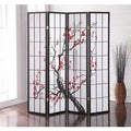Japanese 4-Panel Screen Room Divider, Plum Blossom